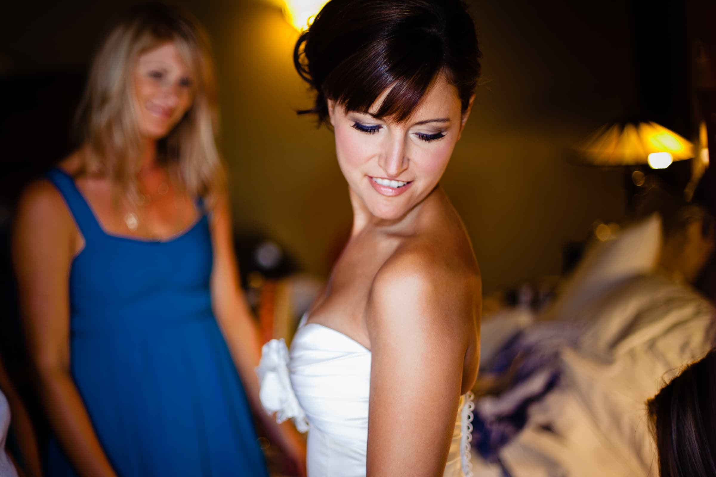 Bride getting ready for her Five Pine Lodge Wedding in Sisters Oregon near Bend
