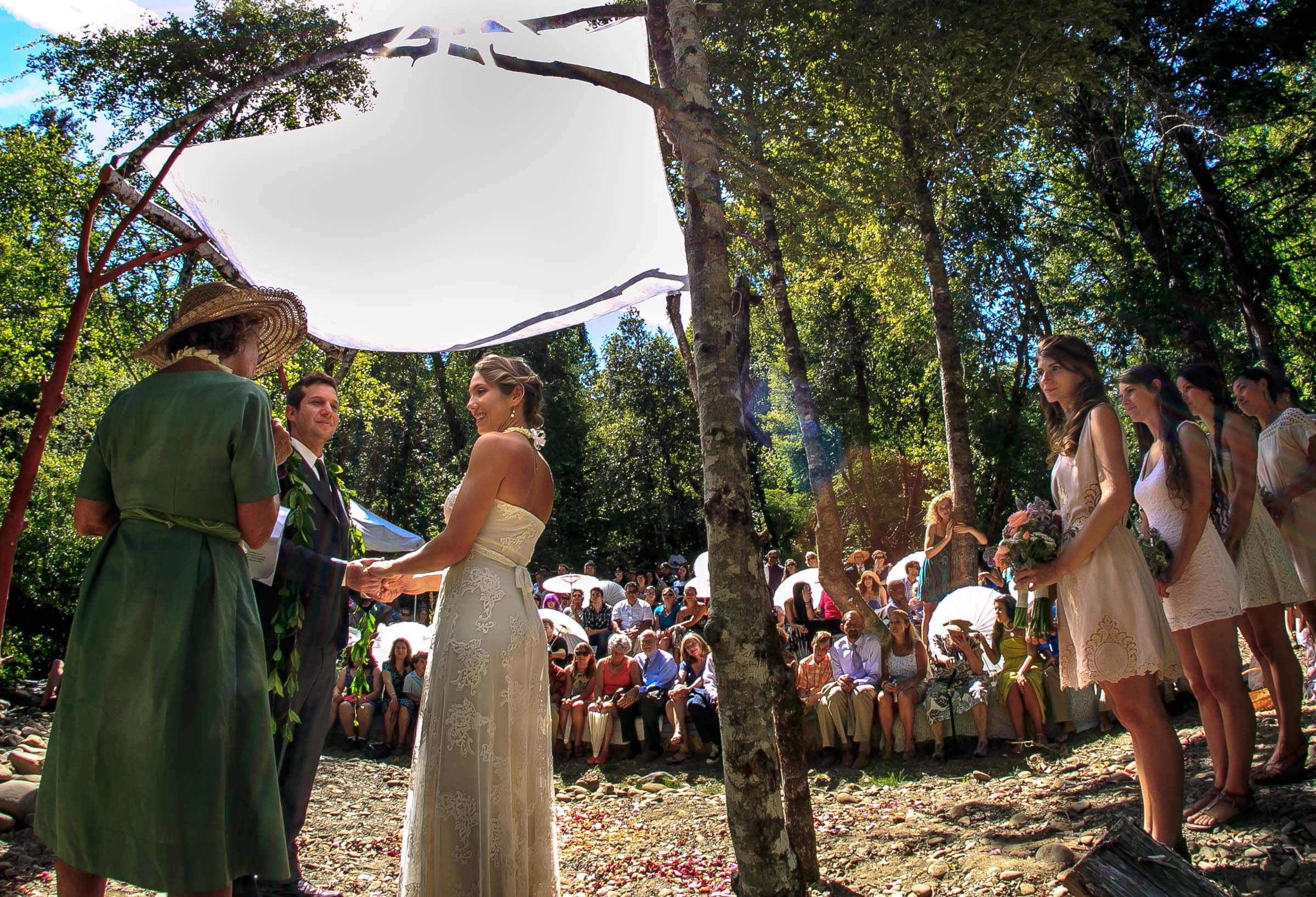 A private ceremony outside at a Humboldt California wedding ceremony at Beginnings Briceland