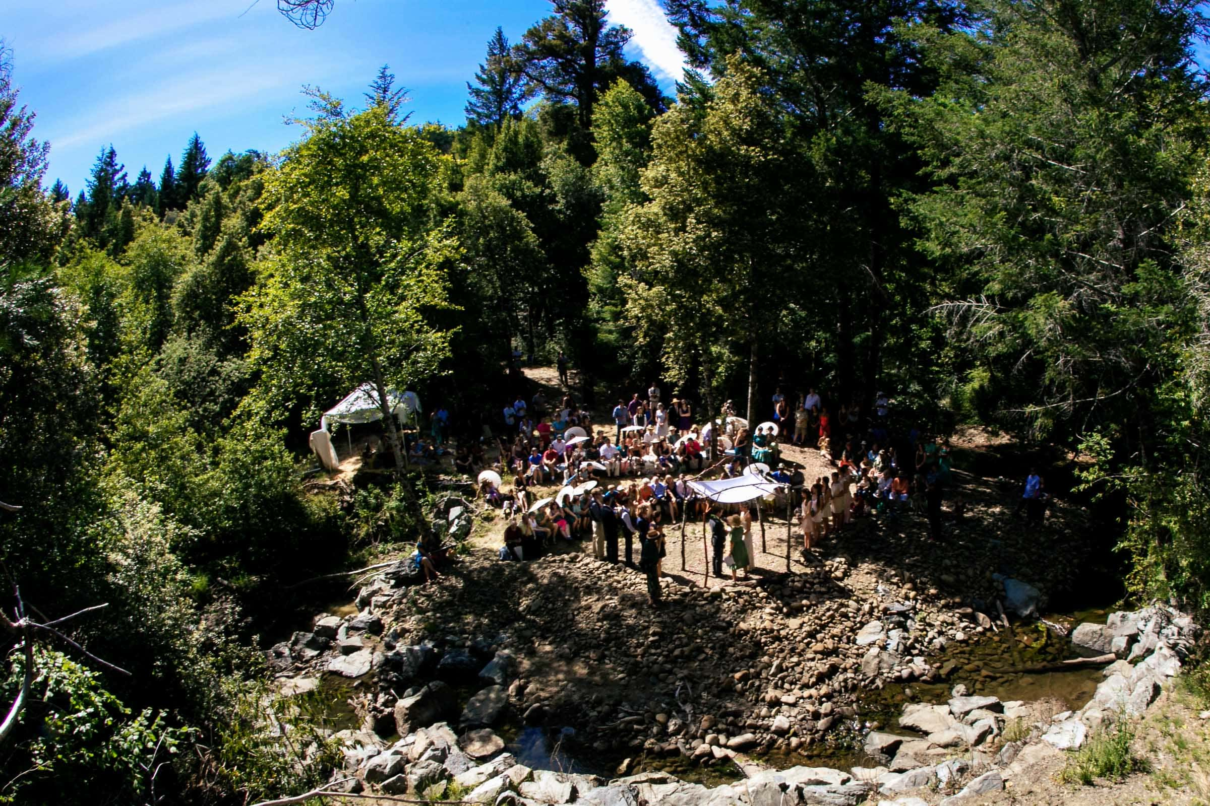 A wide angle view of a private Humboldt California wedding ceremony at Beginnings Briceland