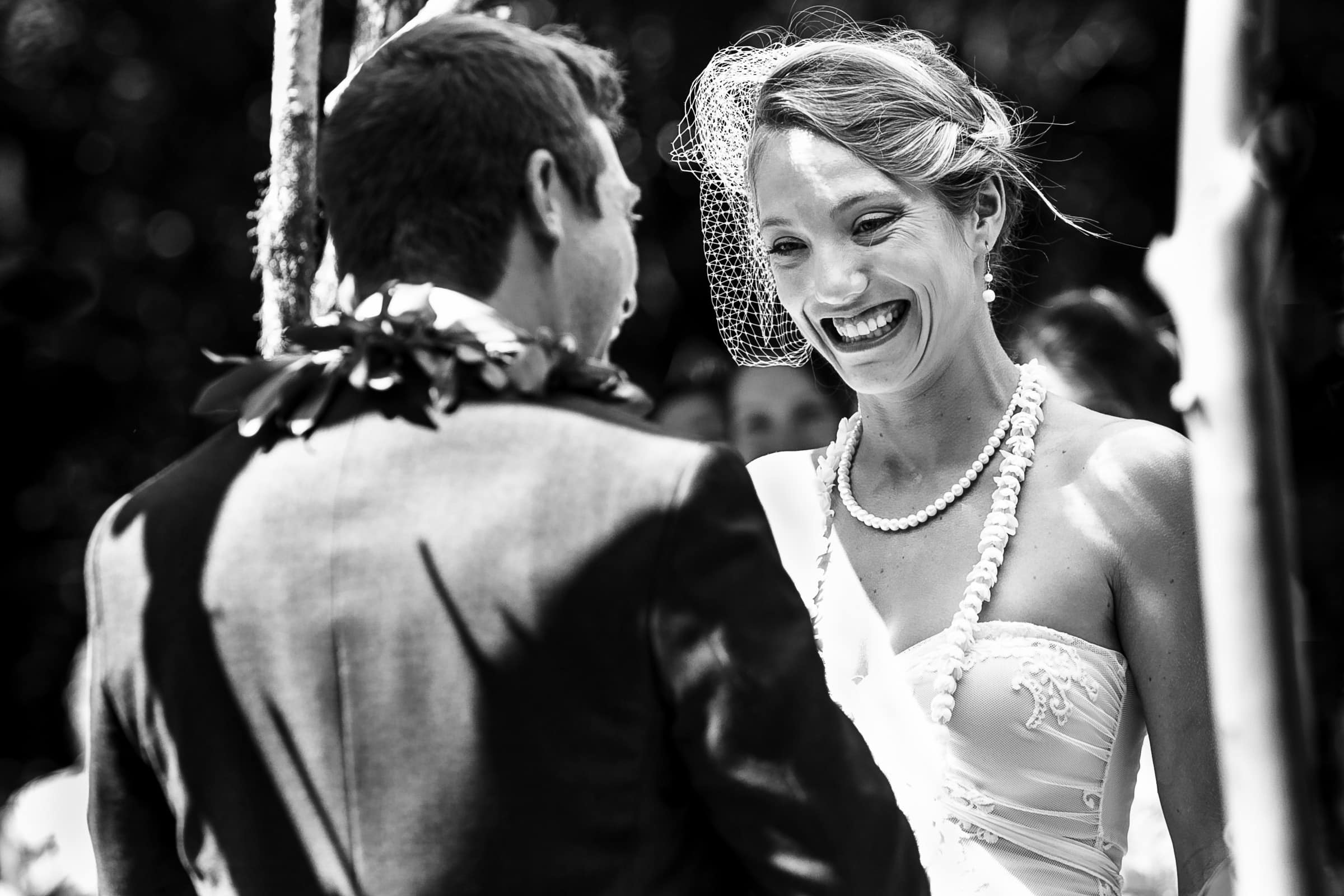 A happy bride during a Humboldt California wedding ceremony at Beginnings Briceland