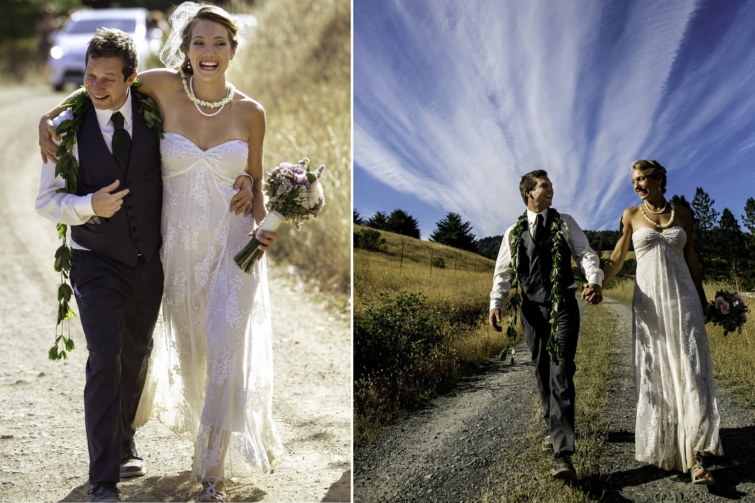 A very happy bride and groom walking together toward their Humboldt California wedding reception at Beginnings Briceland
