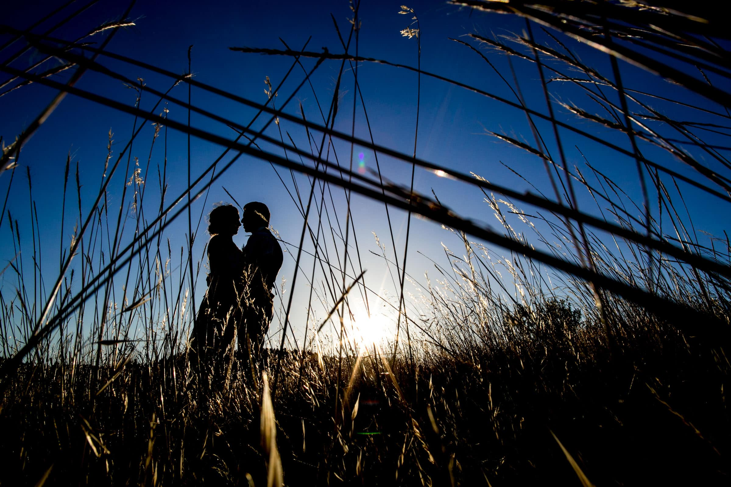 A blue hour photo of a bride and groom silhouette in a field before heading into their Humboldt California wedding reception at Beginnings Briceland