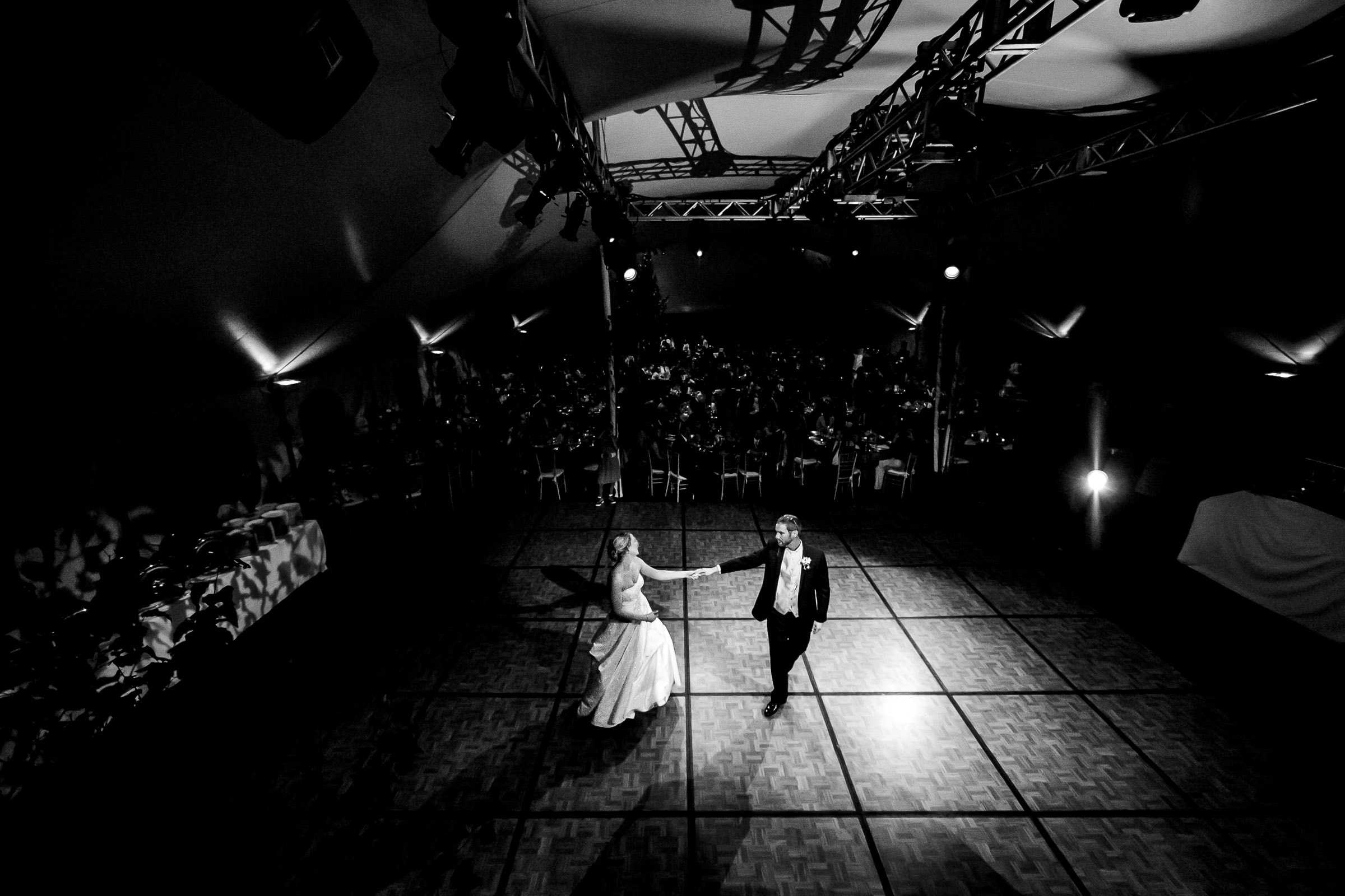 A bride and groom first dance their Trapp Family Lodge wedding reception in Stowe, Vermont.