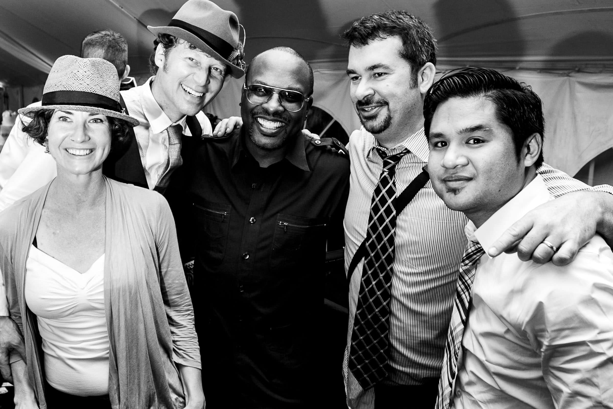 Jos and Tree with DJ JAZZY JEFF at a Trapp Family Lodge wedding reception