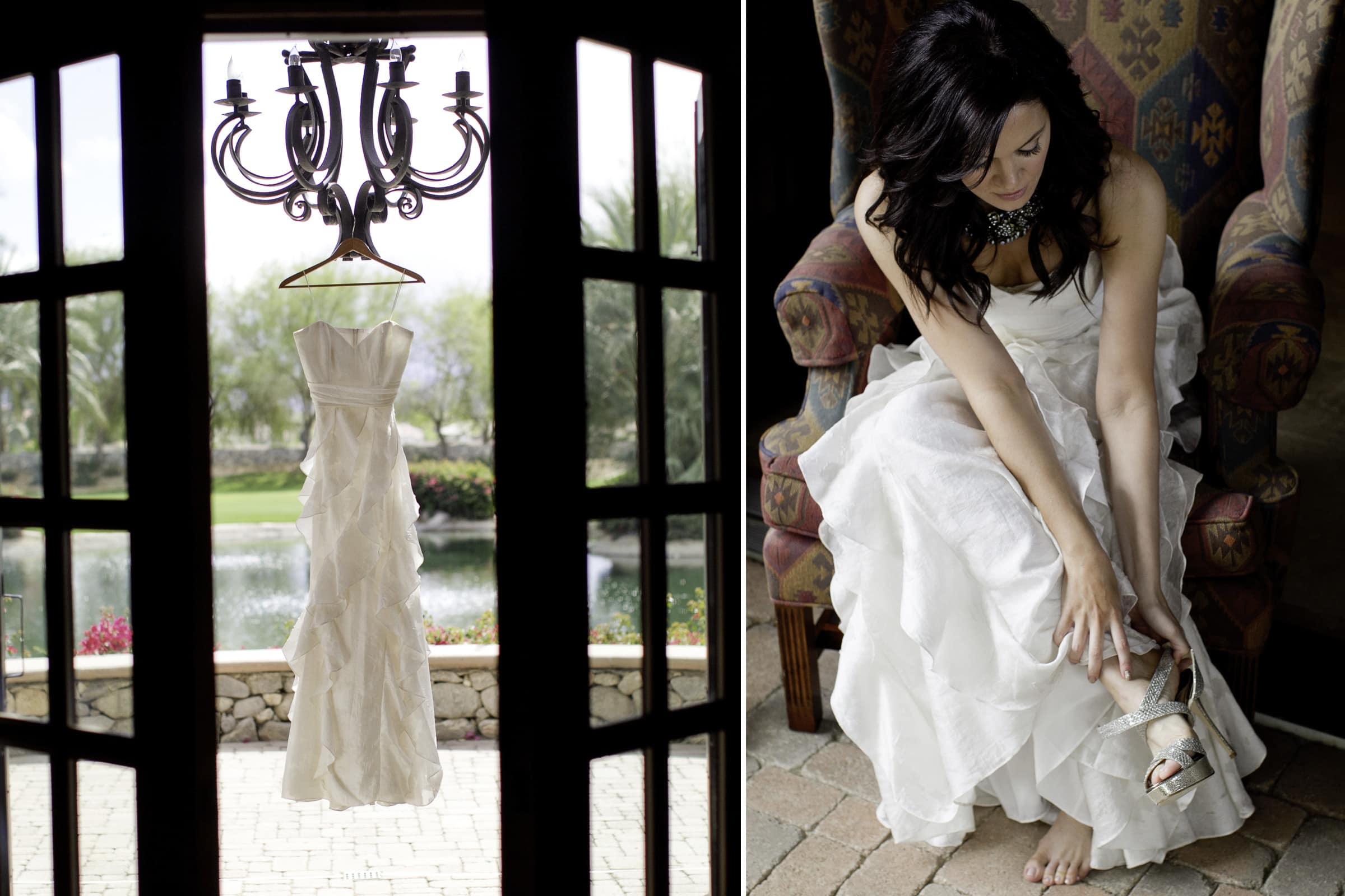 Gorgeous photo of Monica Osborn getting ready for her Palm Springs Wedding with Jay Karas in California at The Bougainvillea Estate