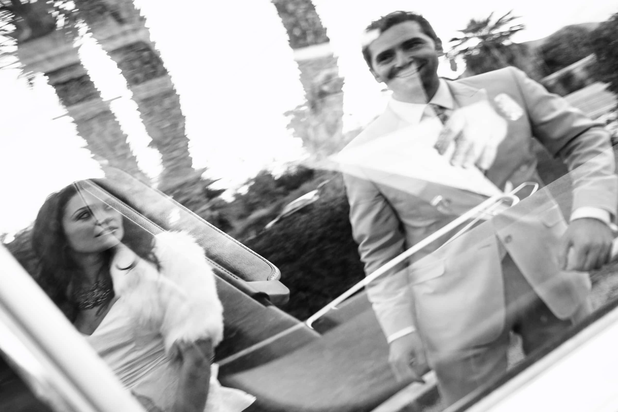 Jay Karas and Monica Osborn reflection photo at their Palm Springs Wedding in California at The Bougainvillea Estate