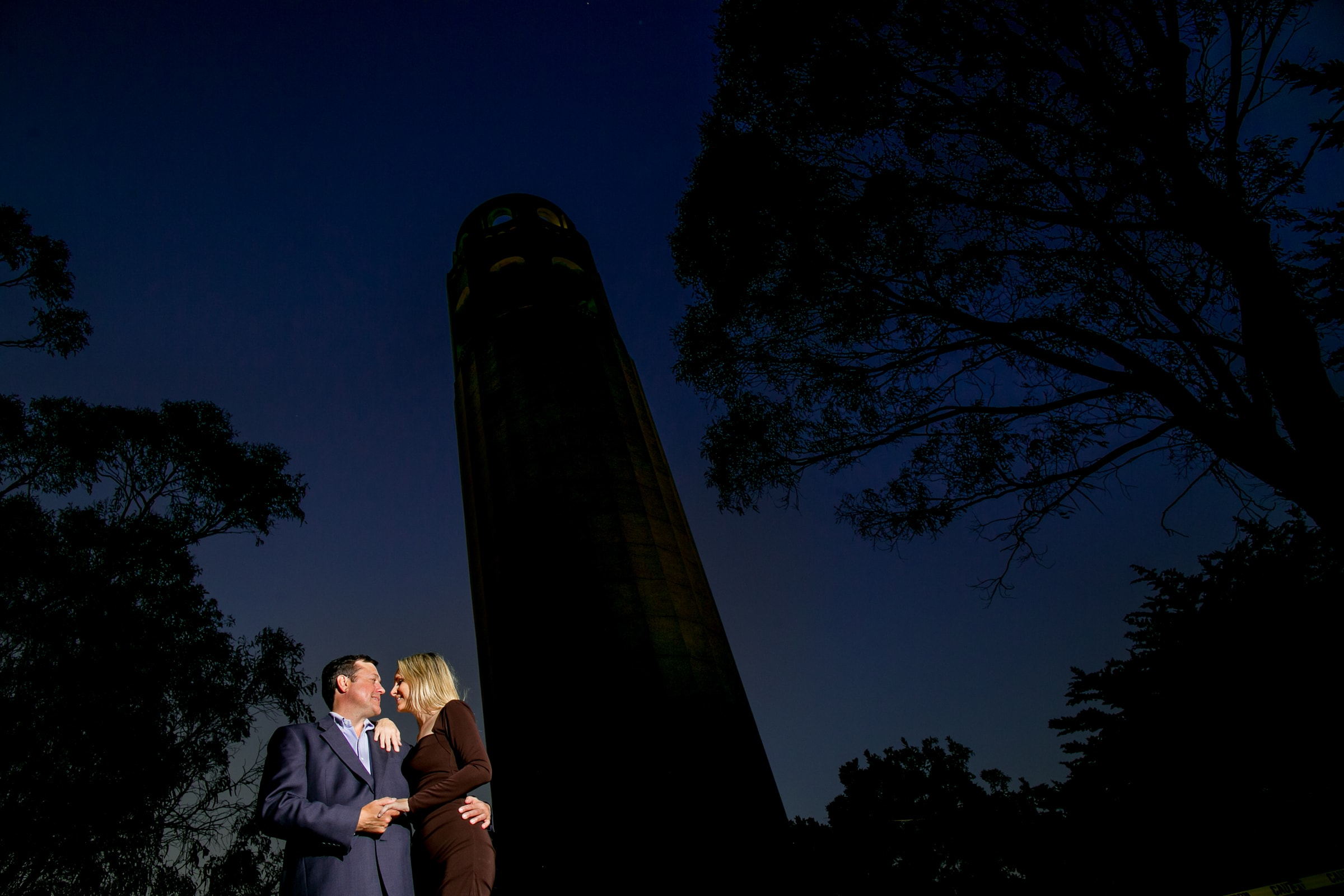 A night shot with a couple in San Francisco while capturing their Baker Beach engagement photos
