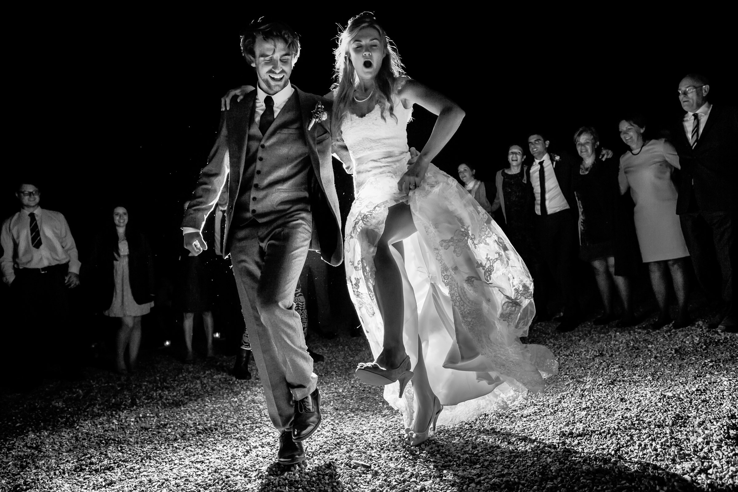 Bride and groom dancing during a French Chateau wedding reception in Normandy, France