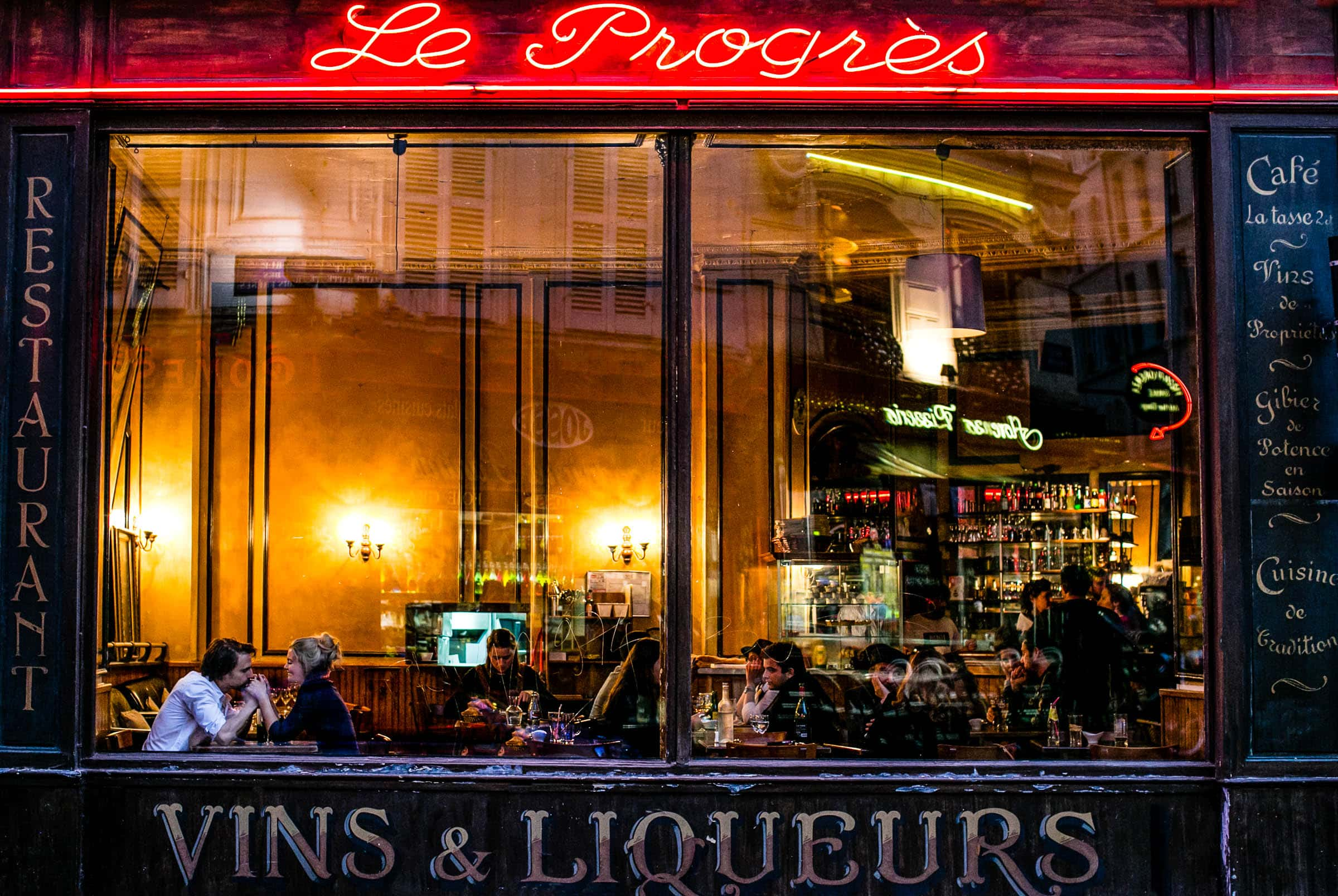Engagement photo at Vins & Liqueurs in Paris, France.