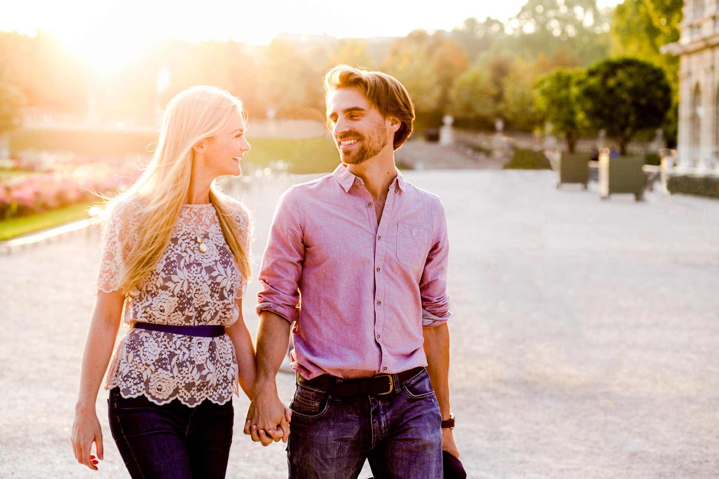 A peaceful moment of connection during Faye and David's Montmartre Paris Engagement date in the Luxembourg Gardens while walking and connecting