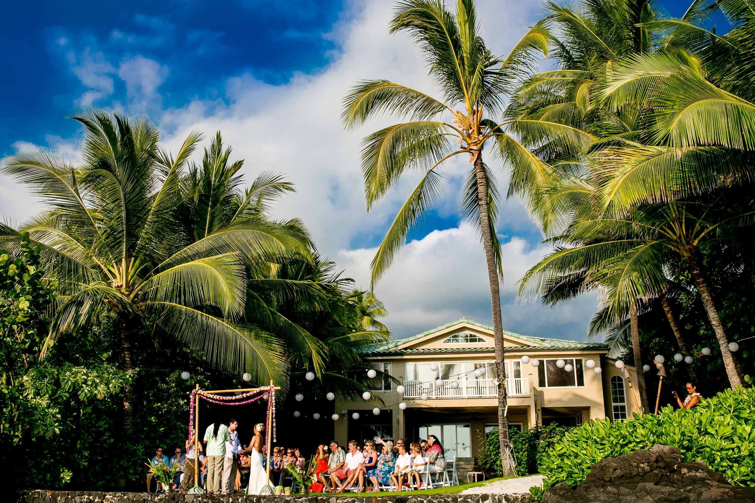 Wide angle perspective of a Kailua Kona Wedding at the Kona Beach Bungalows on the Big Island of Hawaii