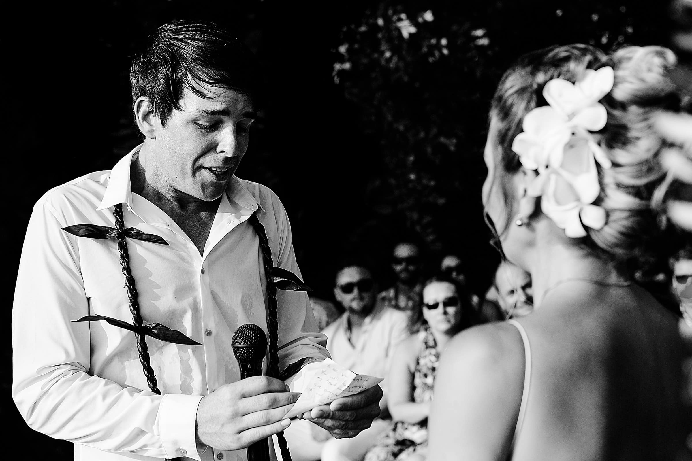 Emotional groom saying his vows during his Kailua Kona Wedding at the Kona Beach Bungalows on the Big Island of Hawaii
