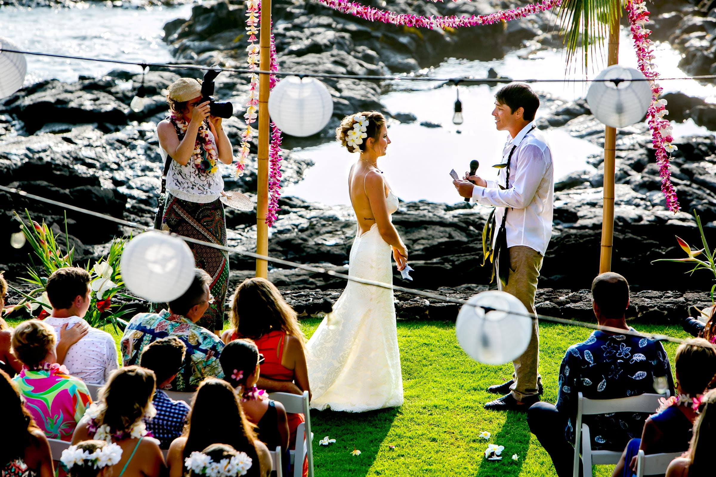 Groom saying his vows during a Kailua Kona Wedding at the Kona Beach Bungalows on the Big Island of Hawaii