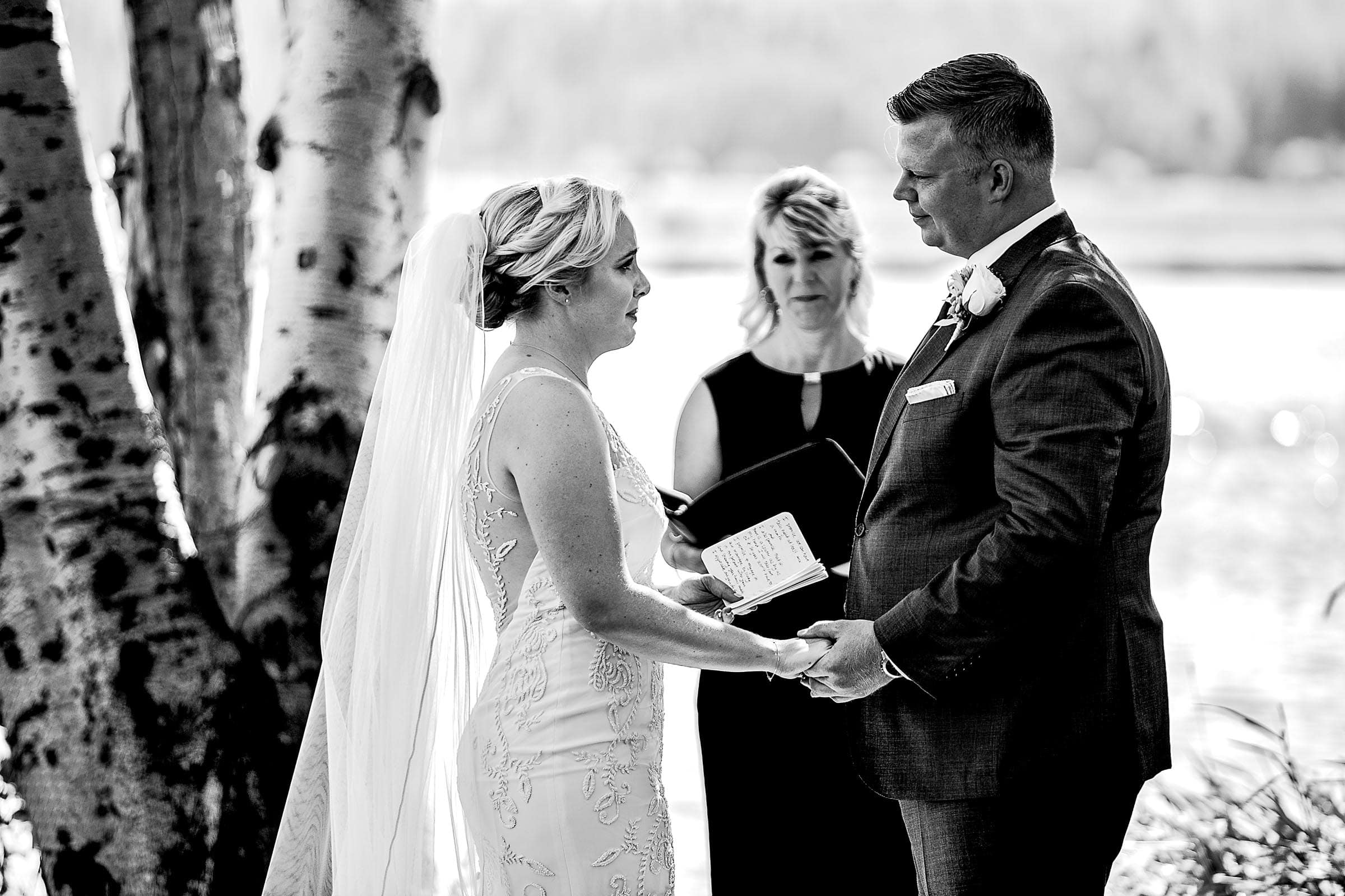 Emotional Bride and Groom during outside ceremony at Black Butte Ranch Resort