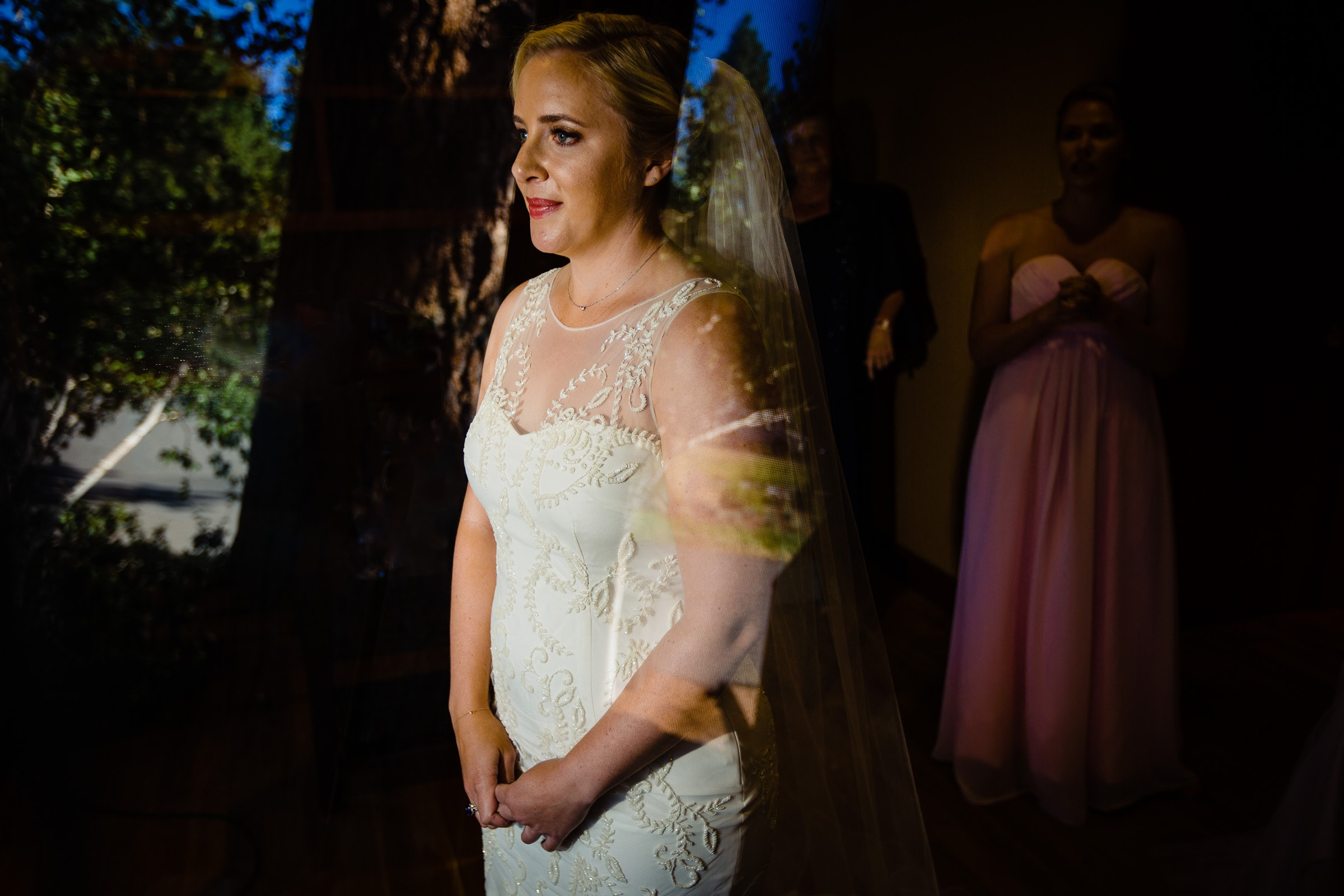 Beautiful bride and creative light about to sep into her Black Butte Ranch wedding in Central Oregon