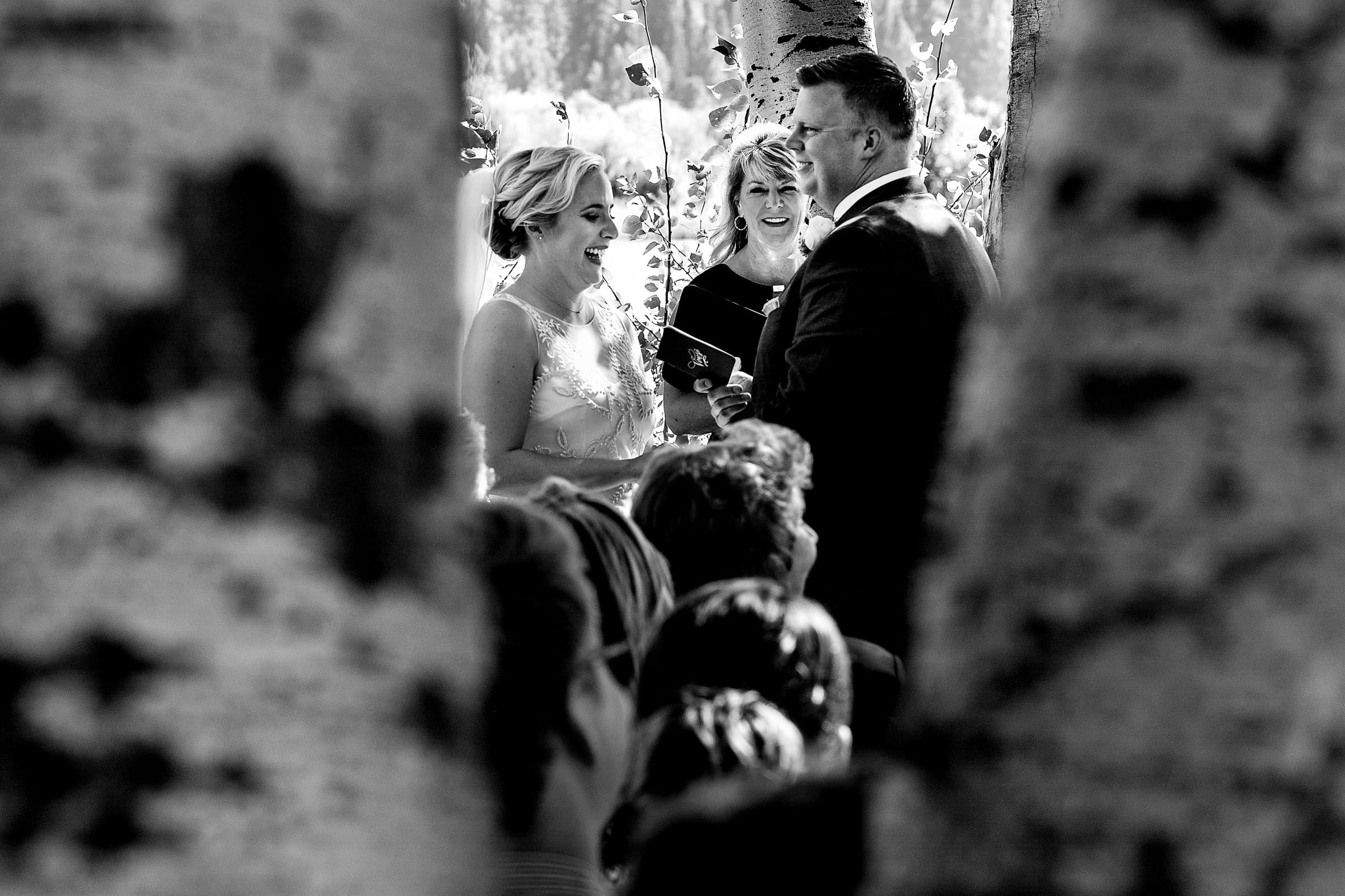 Creative photo of a bride and groom at their Black Butte Ranch wedding in Central Oregon