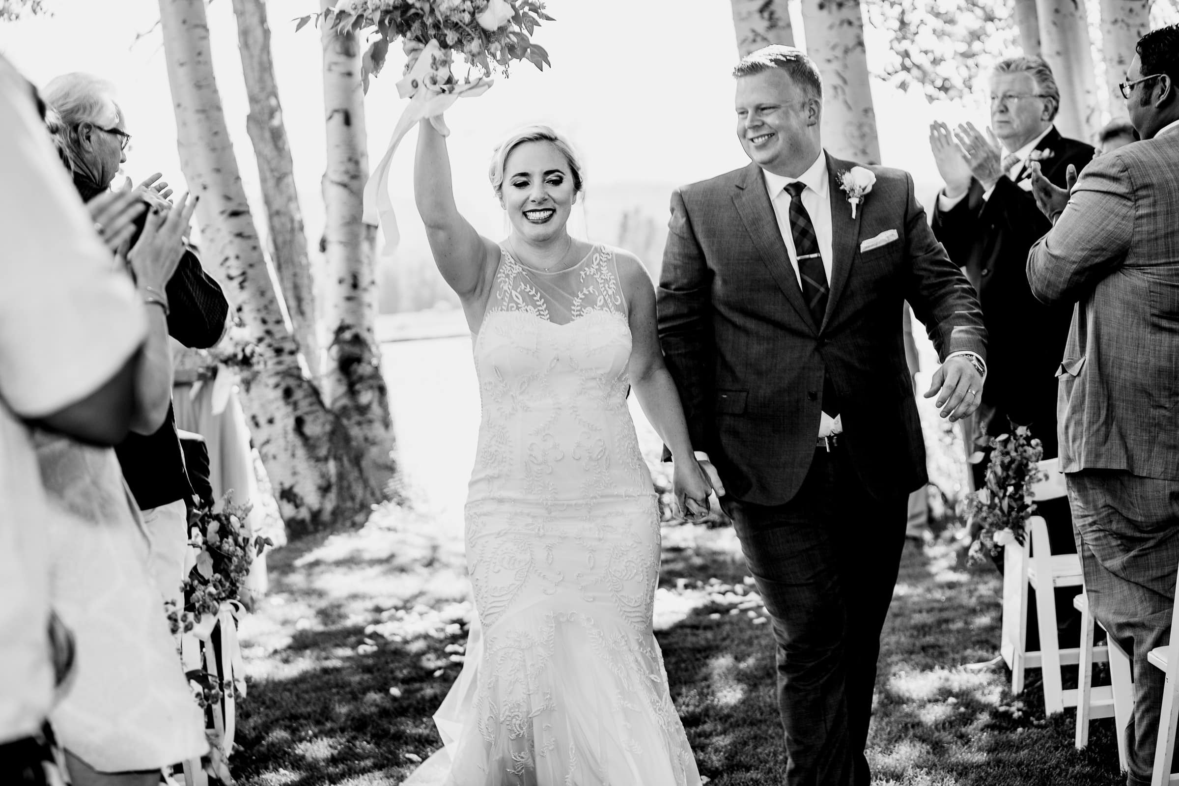Emotional bride and groom while exiting their Black Butte Ranch wedding ceremony in Central Oregon