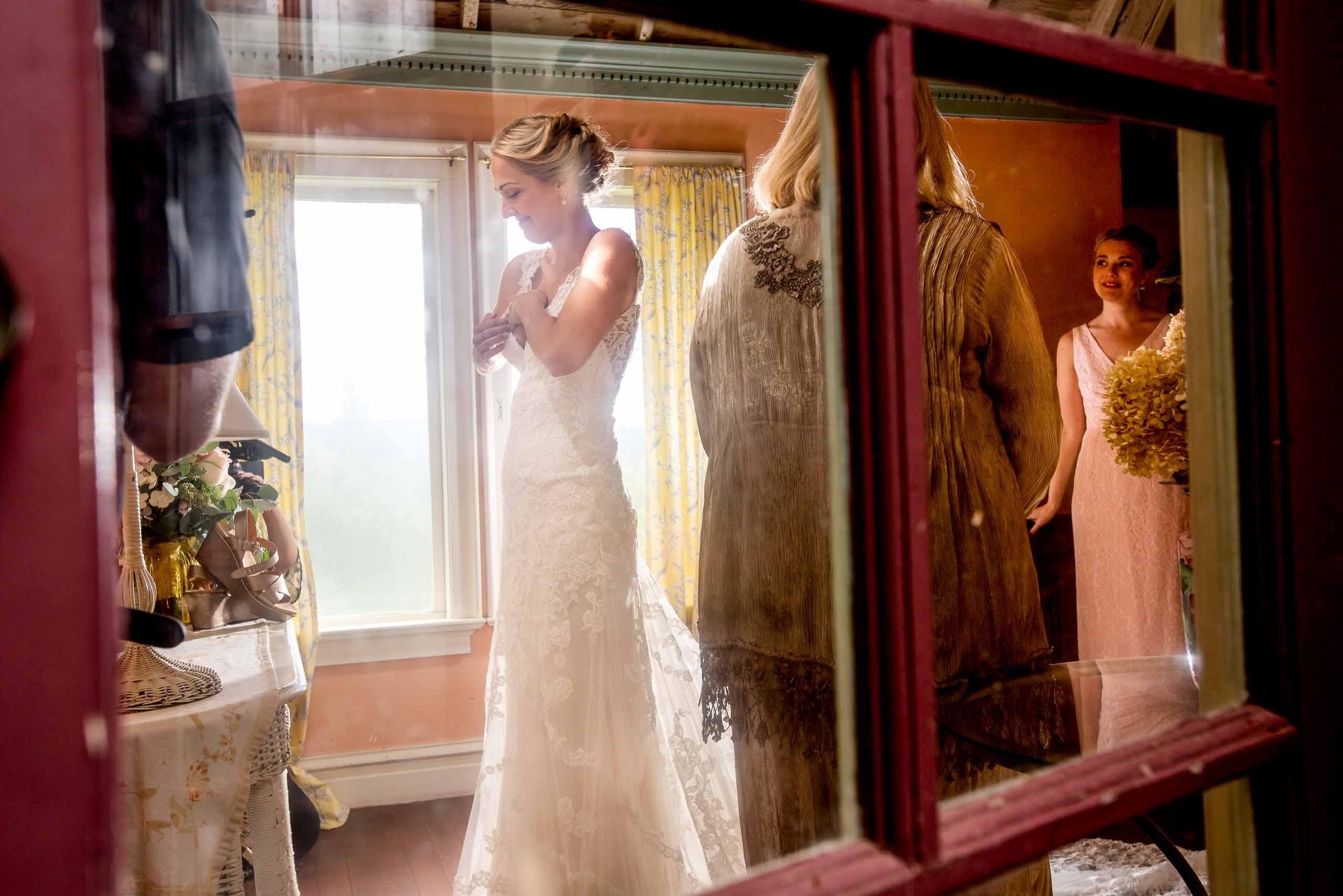 Bride getting ready for her Mt Hood Organic Farms wedding near Hood River Oregon
