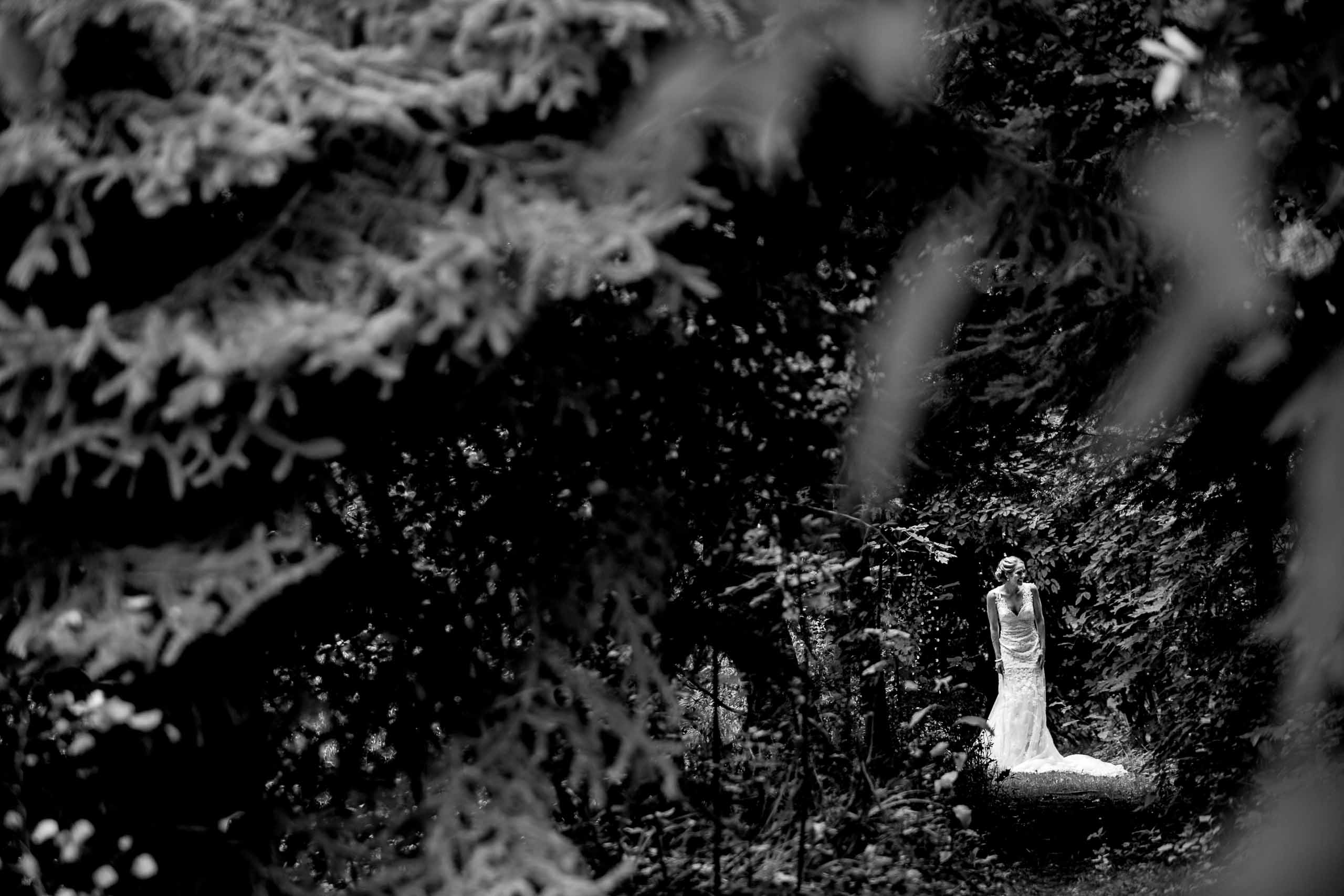 Bride walking through the forest about to meet her groom for their Mt Hood Organic Farms wedding near Hood River Oregon