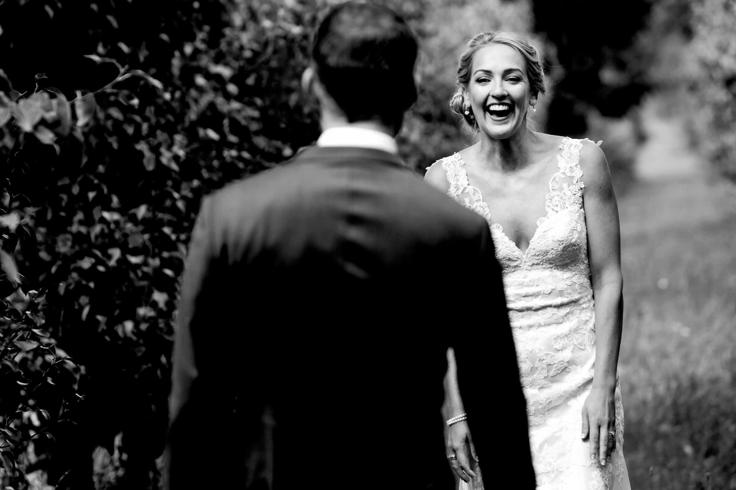 Bride seeing her groom for first time before their Mt Hood Organic Farms wedding near Hood River Oregon
