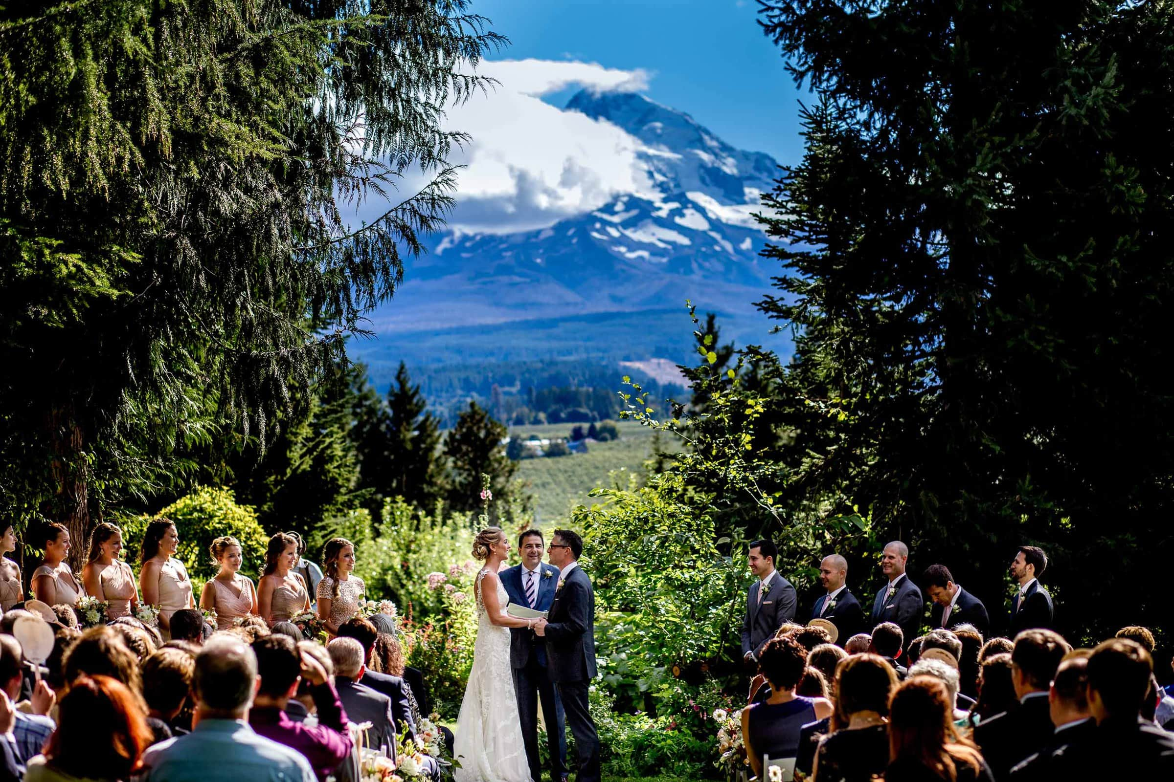 Bride and groom exchanging vows with Mt Hood in the distance during their Mt Hood Organic Farms wedding ceremony near Hood River Oregon