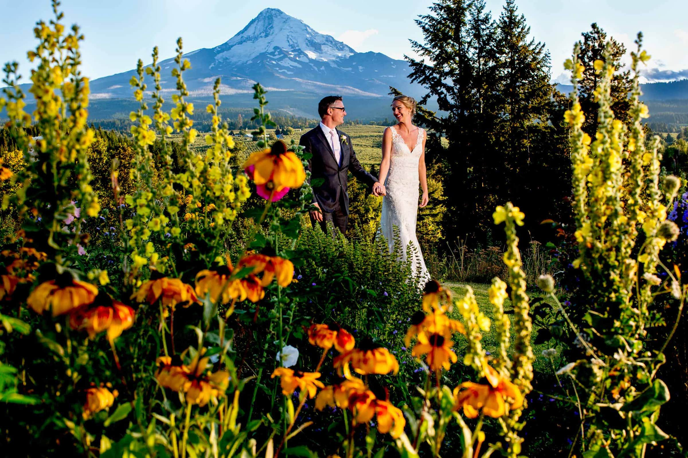 Bride and groom walking through flowers at sunset during their Mt Hood Organic Farms wedding near Hood River Oregon
