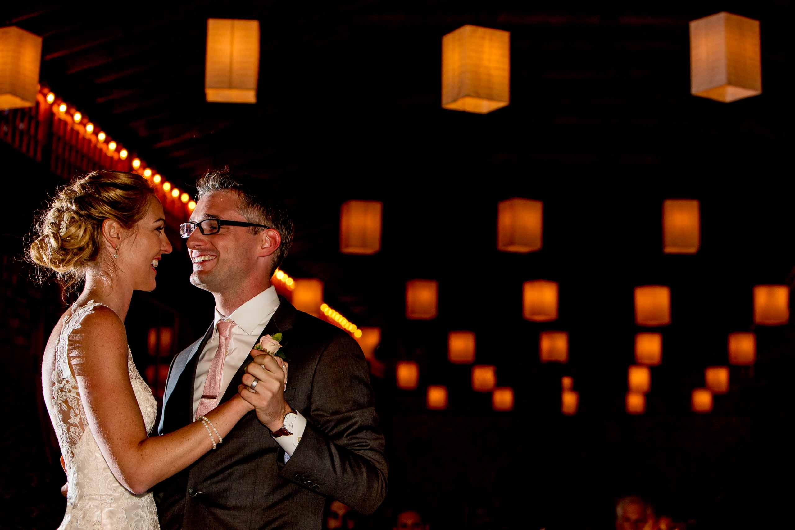 Bride and groom first dance at their Mt Hood Organic Farms wedding reception near Hood River Oregon