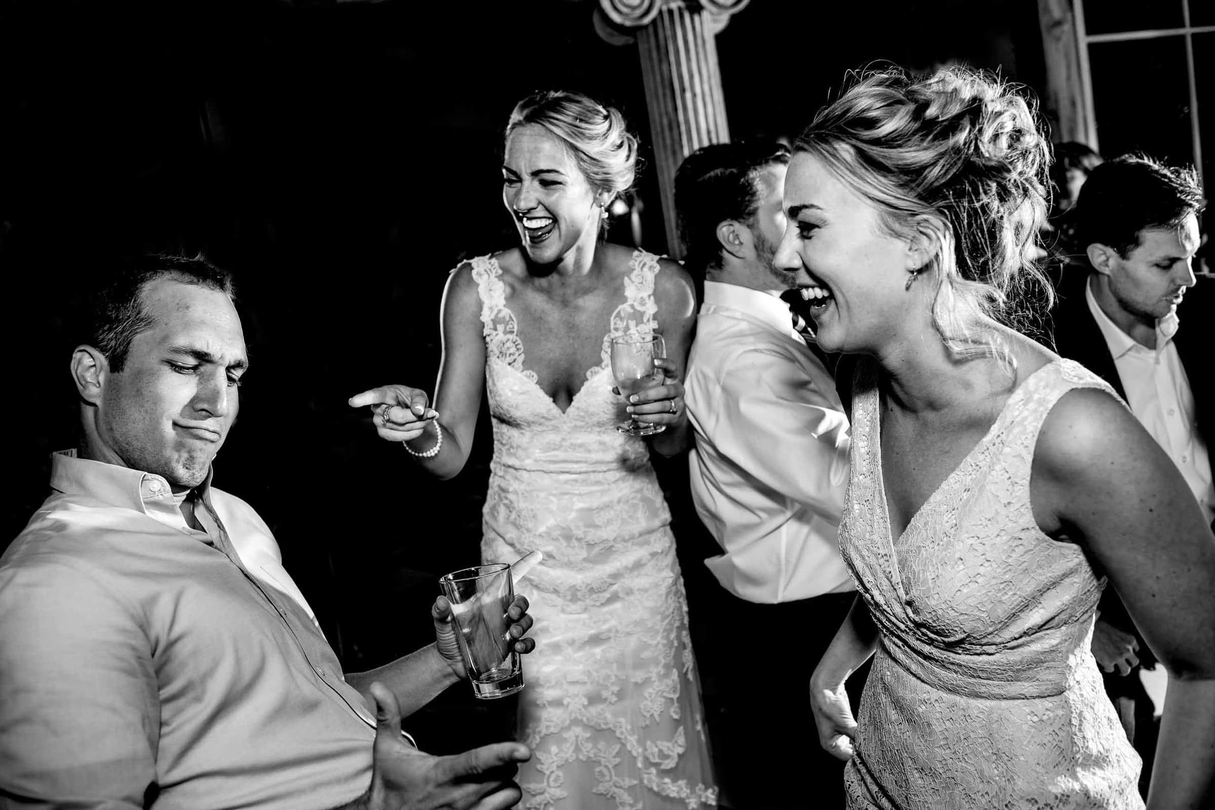 Fun dancing with bride and friends at a Mt Hood Organic Farms wedding reception near Hood River Oregon