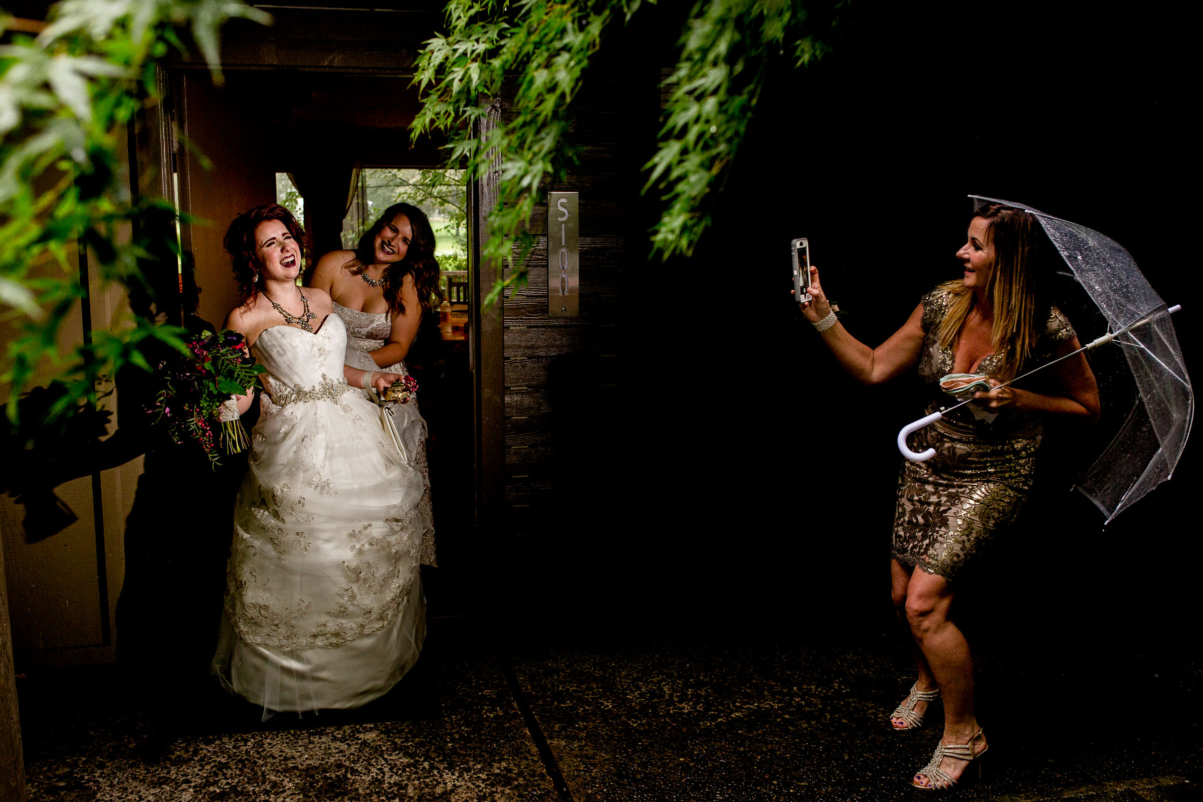 Bride on her way to her Resort at the Mountain wedding ceremony in Oregon near Mt Hood.