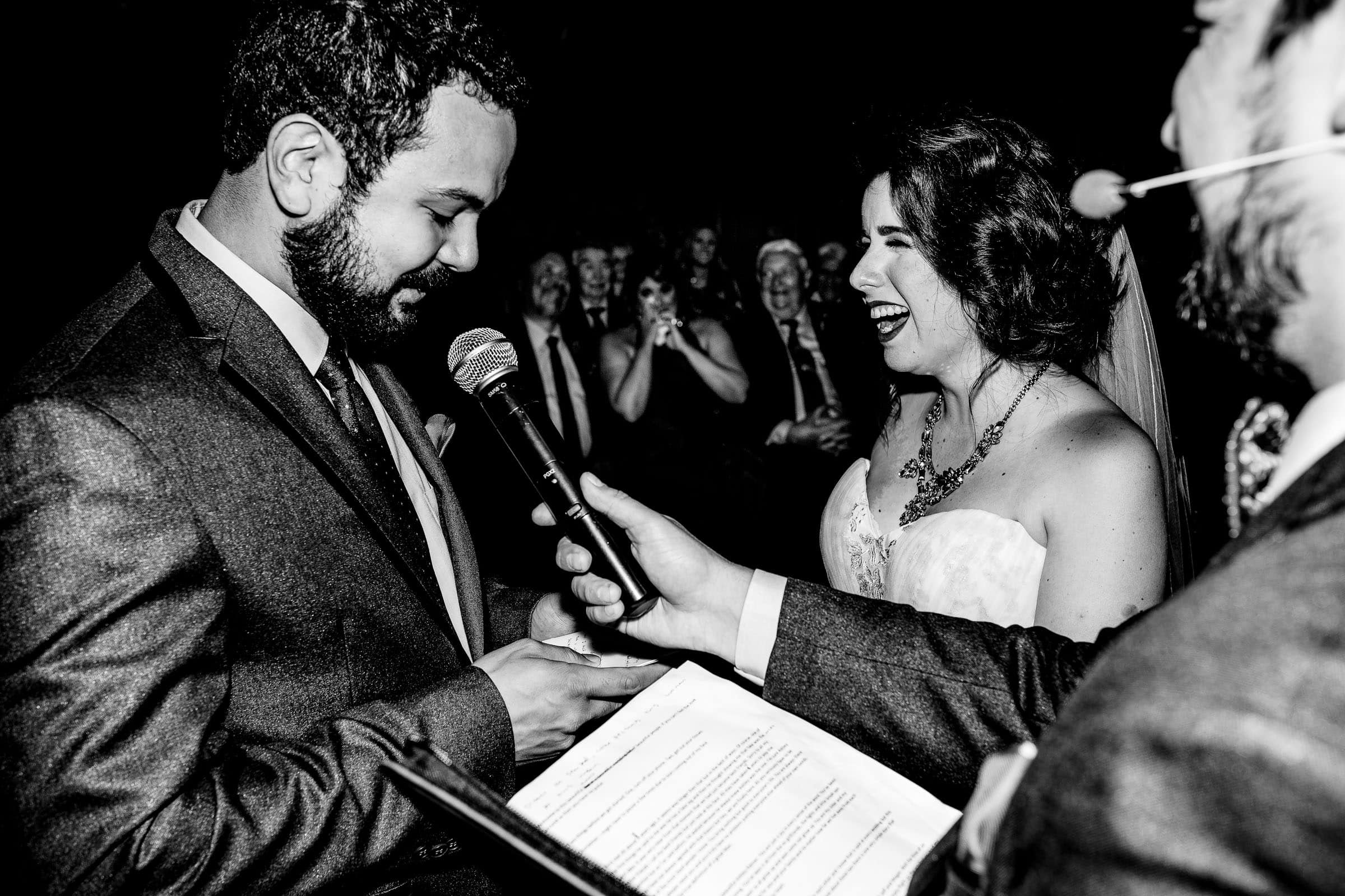 Emotional vows between bride and groom during their Resort at the Mountain wedding in Oregon on Mt Hood