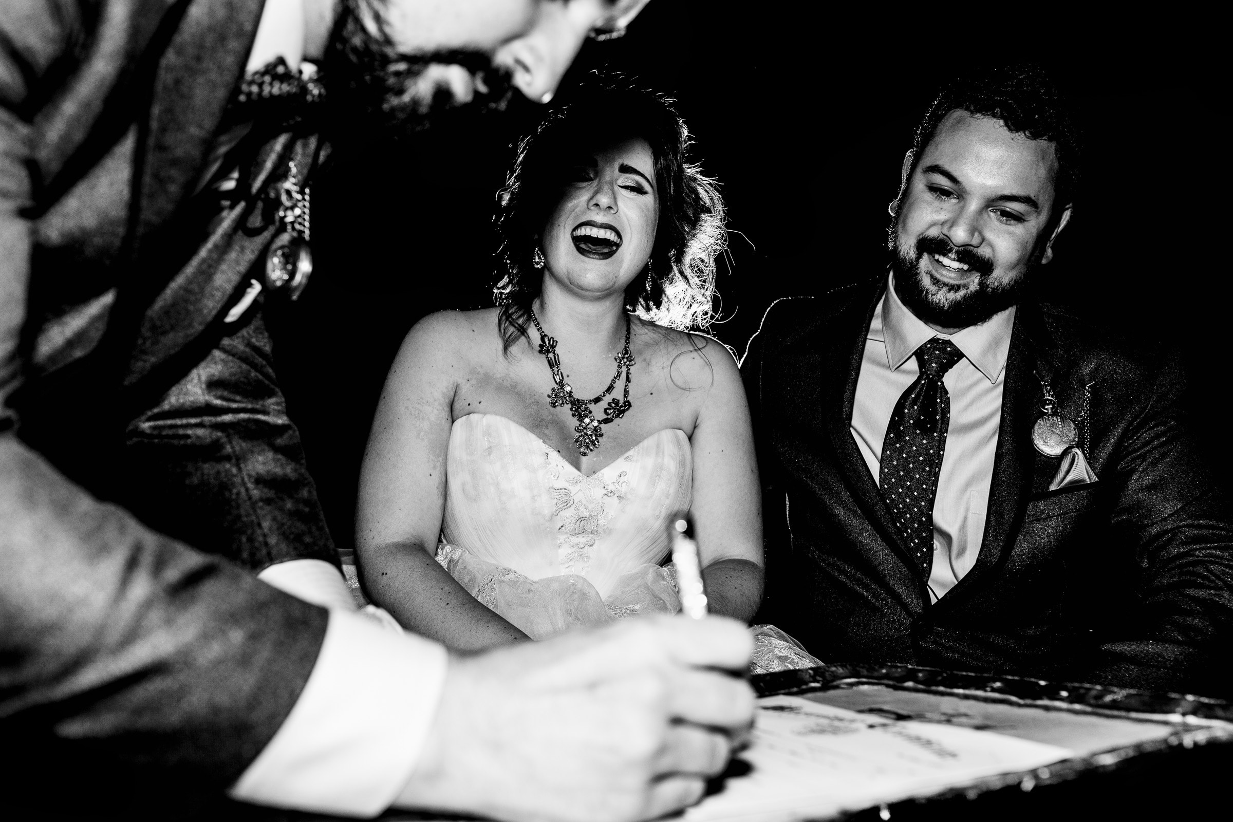 Bride and groom signing wedding certificate during their Resort at the Mountain wedding on Mt Hood in Oregon