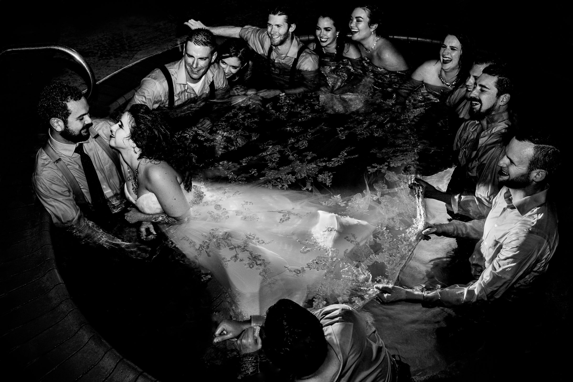 the worlds best wedding photos award of bride and groom in hot tub late night party at their Resort at the Mountain wedding on Mt Hood