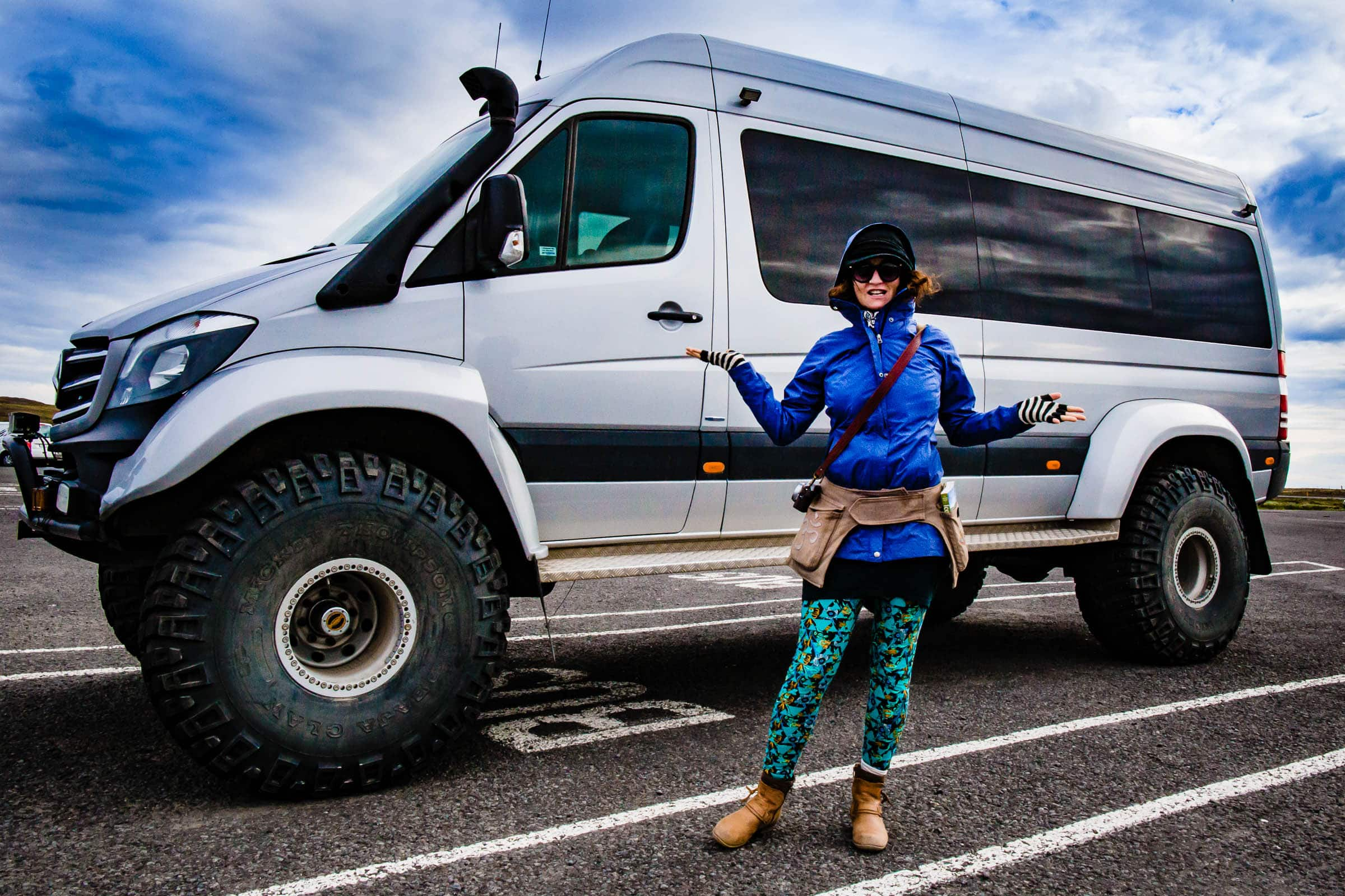 A huge off road van helpful for exploring and illustrating Jos and Tree's Iceland engagement photo ideas