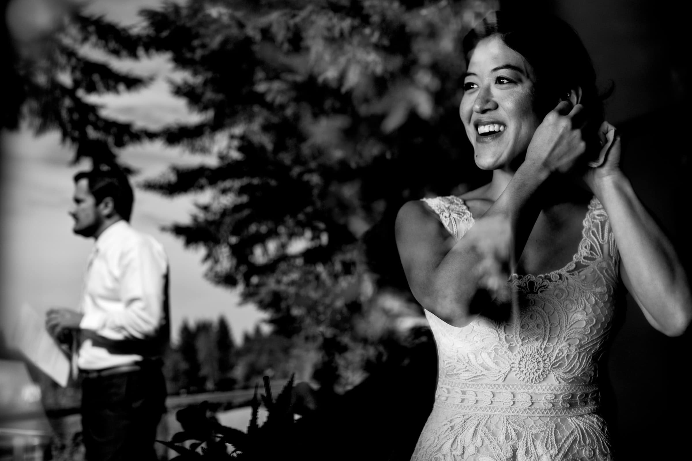 Bride getting ready for her Seattle elopement