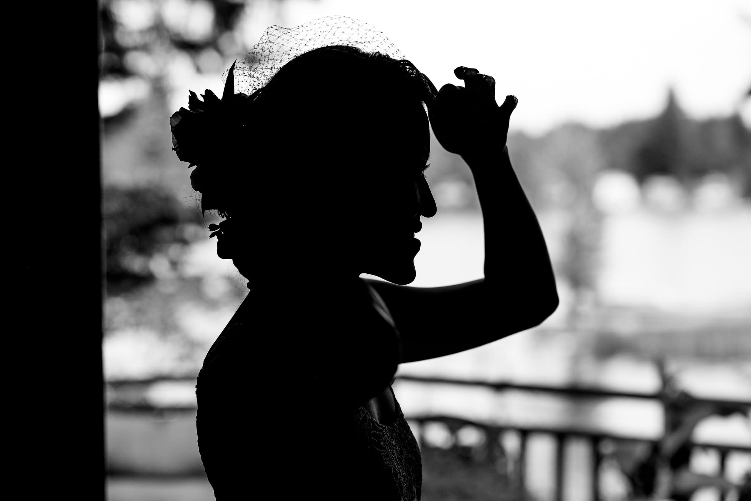 Silhouette photo of a bride getting ready for their Seattle elopement