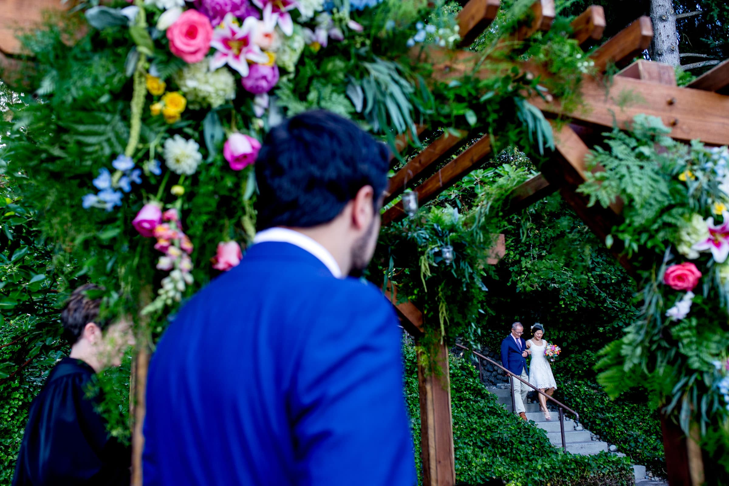 Bride walking into her private Seattle elopement ceremony