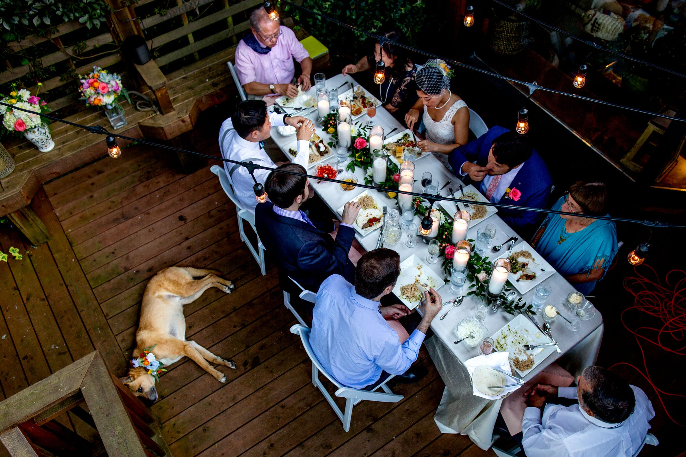 Private dinner with family and friends during a small Seattle Elopement