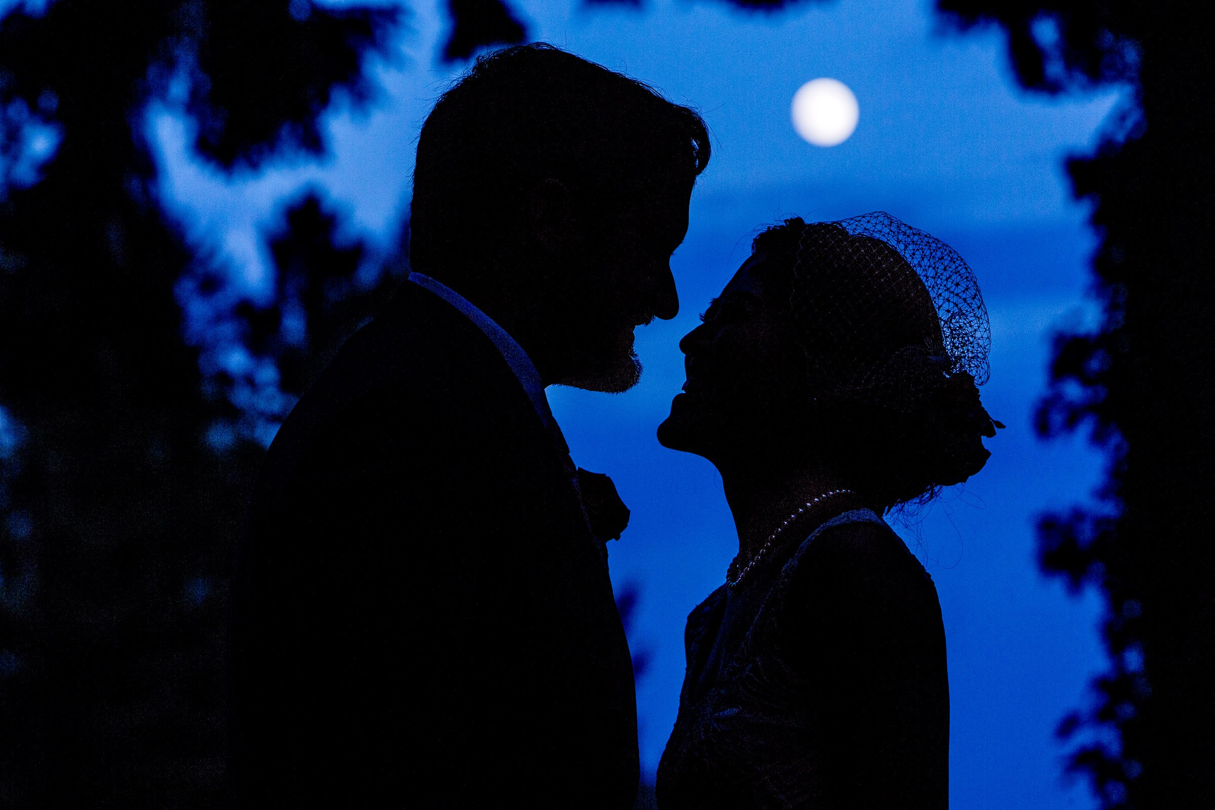 Bride and Groom moon light portrait during a private Seattle elopement ceremony