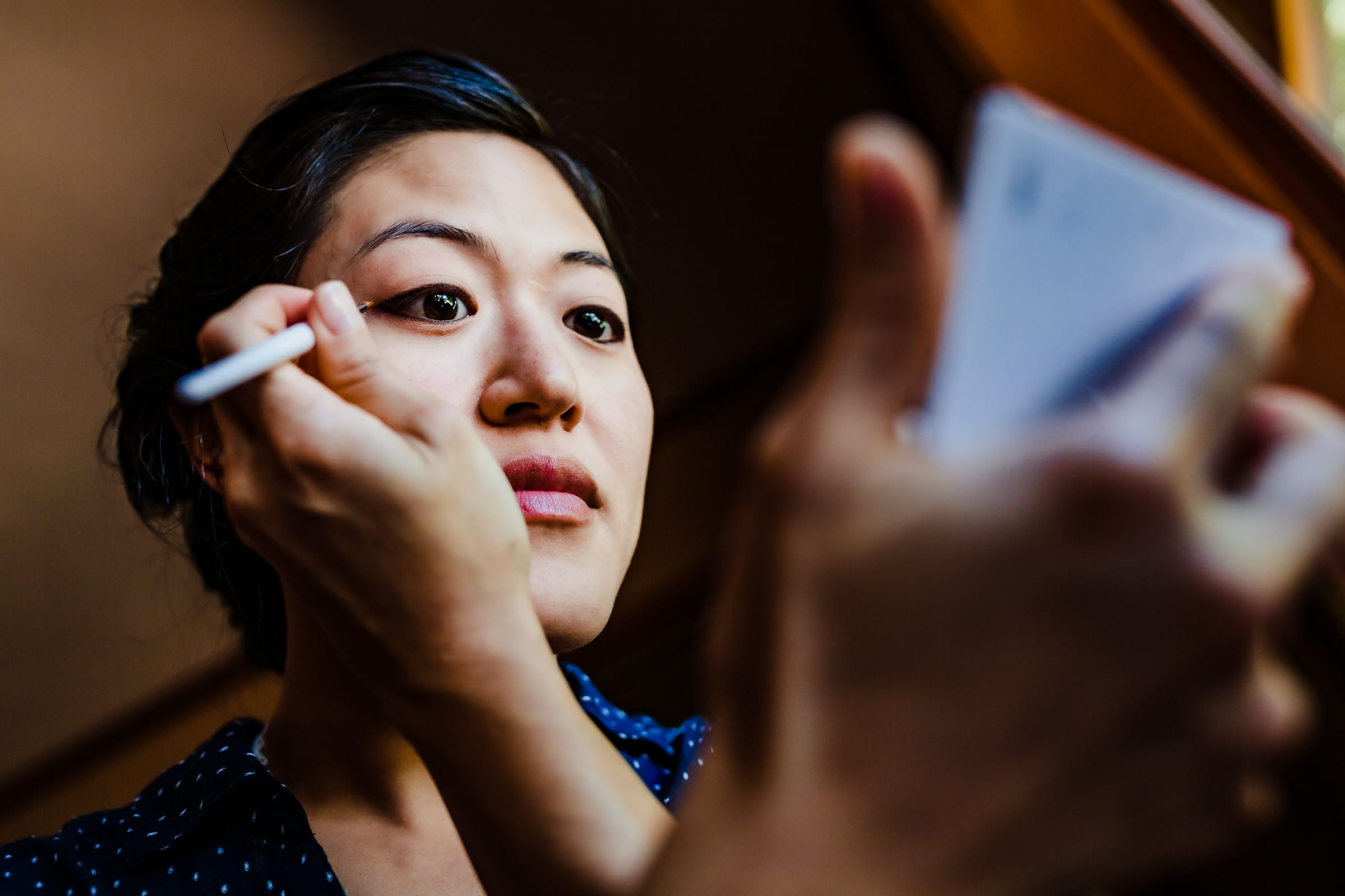 Bride getting ready before her Seattle Elopement