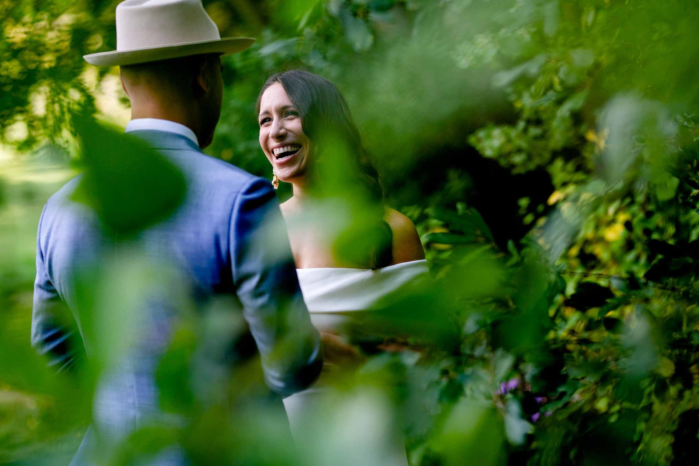 Bride and groom seeing each other in the garden moments before their Mt Hood Organic Farms wedding