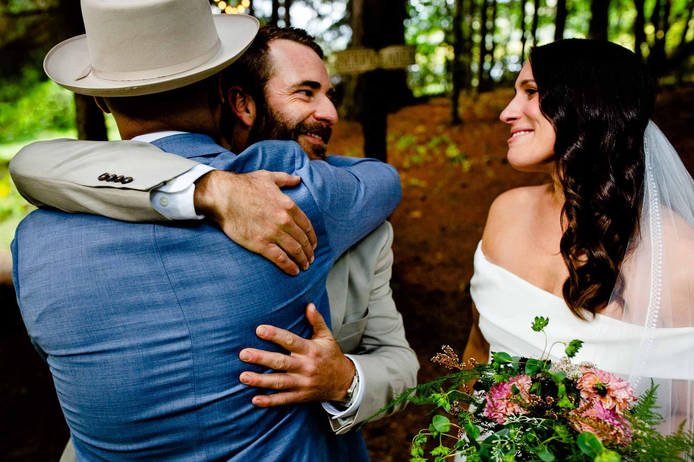 Bride and groom emotionally exiting their Mt Hood Organic Farms Wedding ceremony