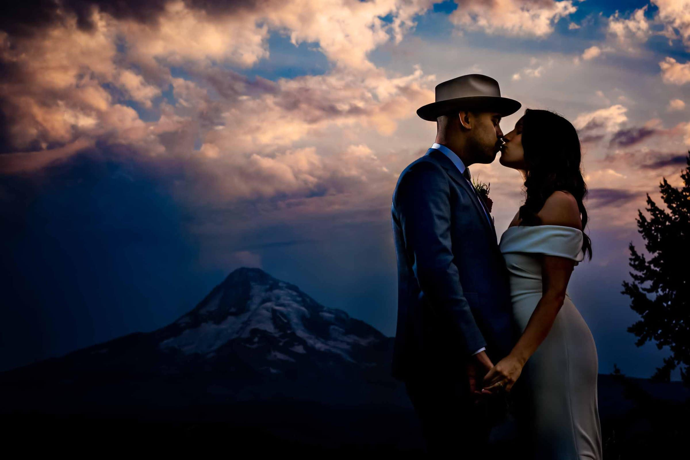 Bride and groom with a gorgeous sunset at their Mt Hood Organic Farms wedding