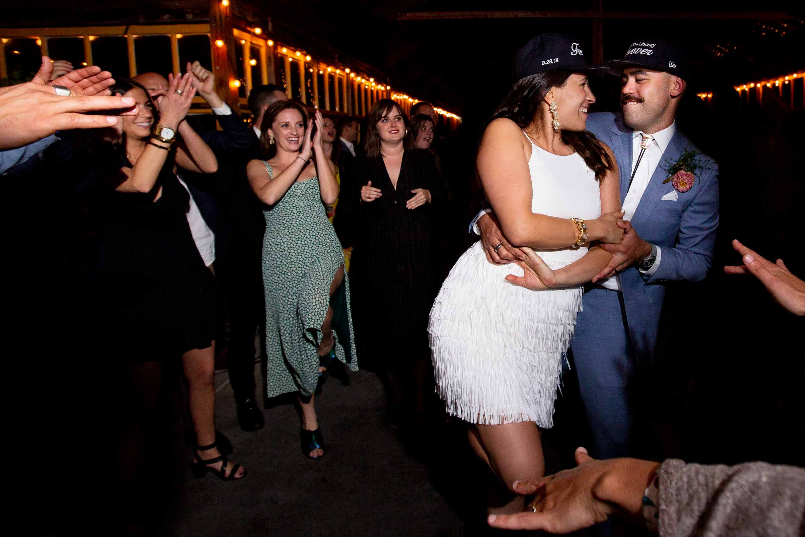 Bride and groom dancing at a Mt Hood Organic Farms wedding reception