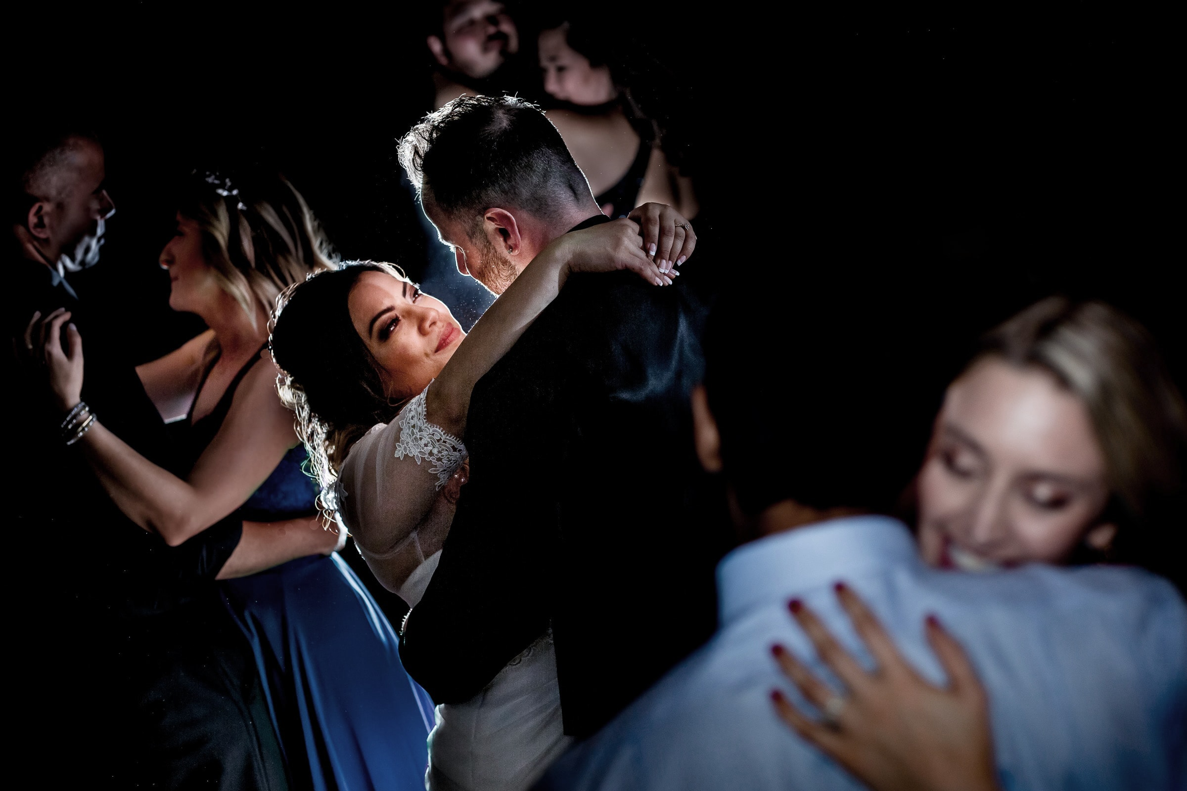 Beautiful moment of bride and groom dancing in Ravens nest at their Timberline Lodge Wedding on Mt Hood
