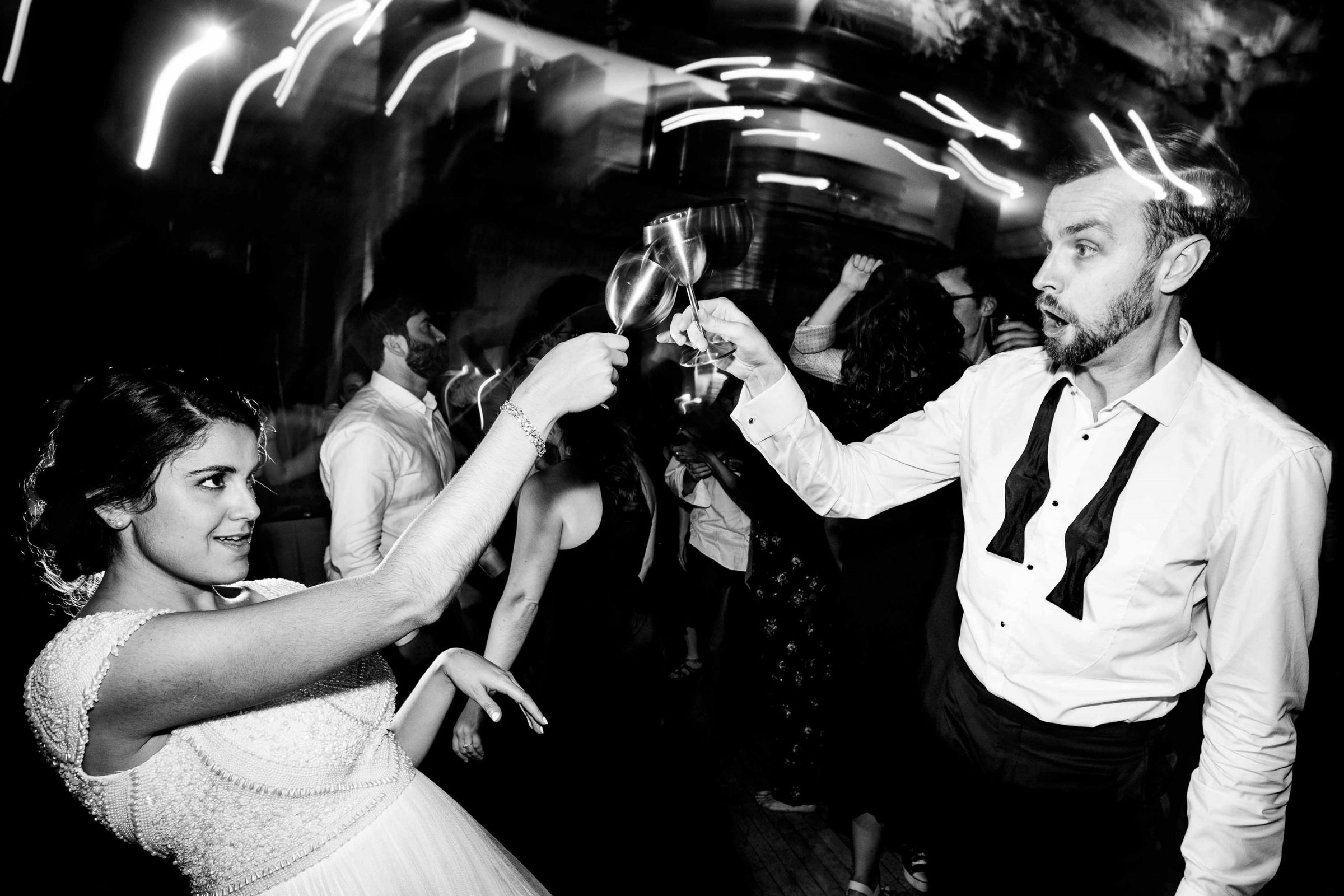 Super fun bride and groom dancing photo at a Cafe Brauer Wedding reception in Chicago, Illinois.