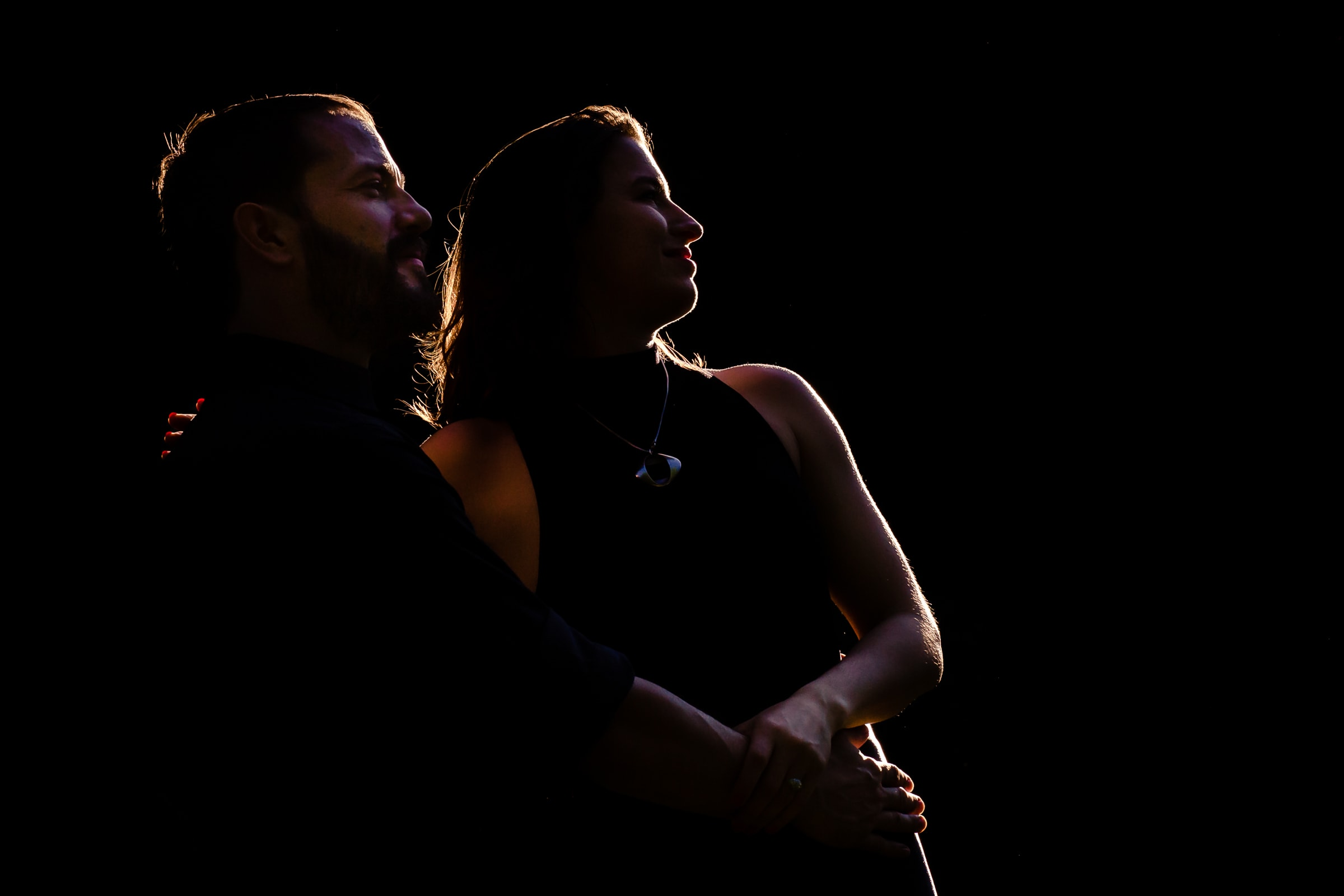 Creative Portland engagement photos of a couple in a warm sunset silhouette