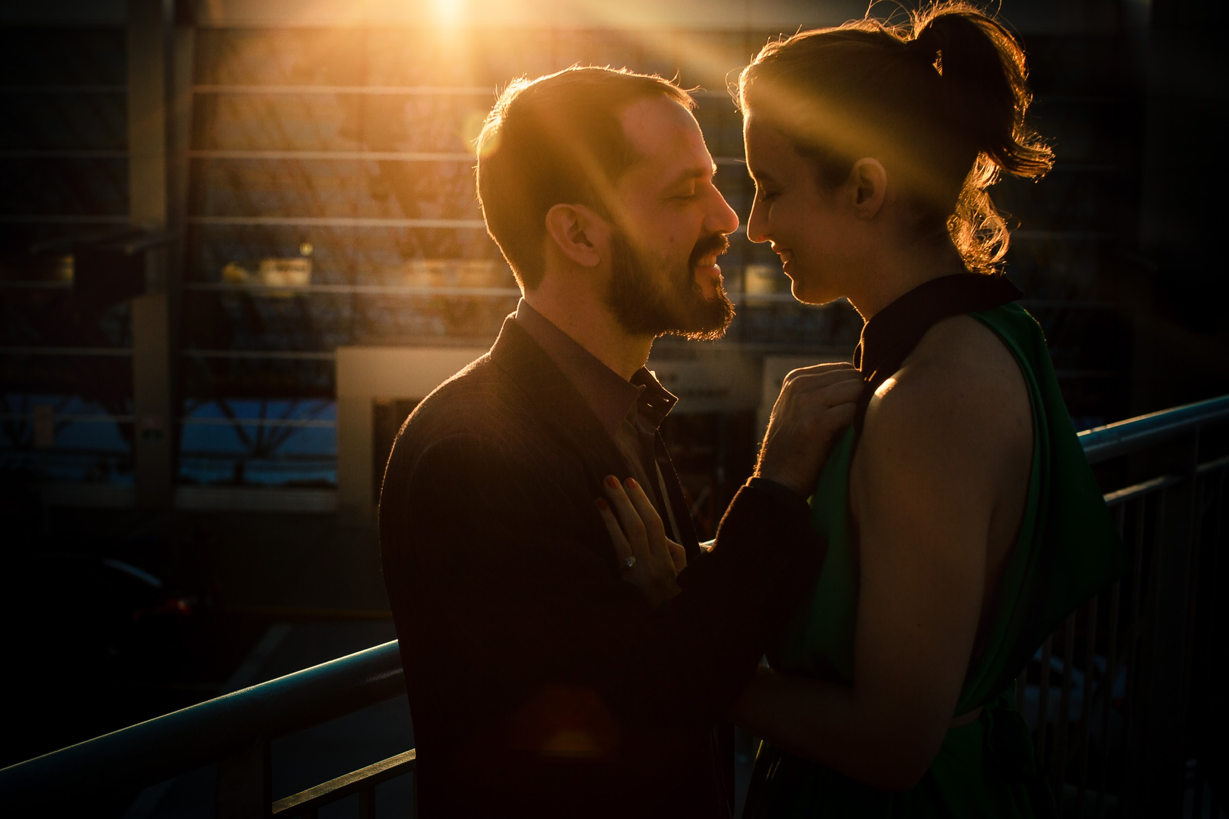 Creative Portland engagement photos of a couple in warm sunlight embracing