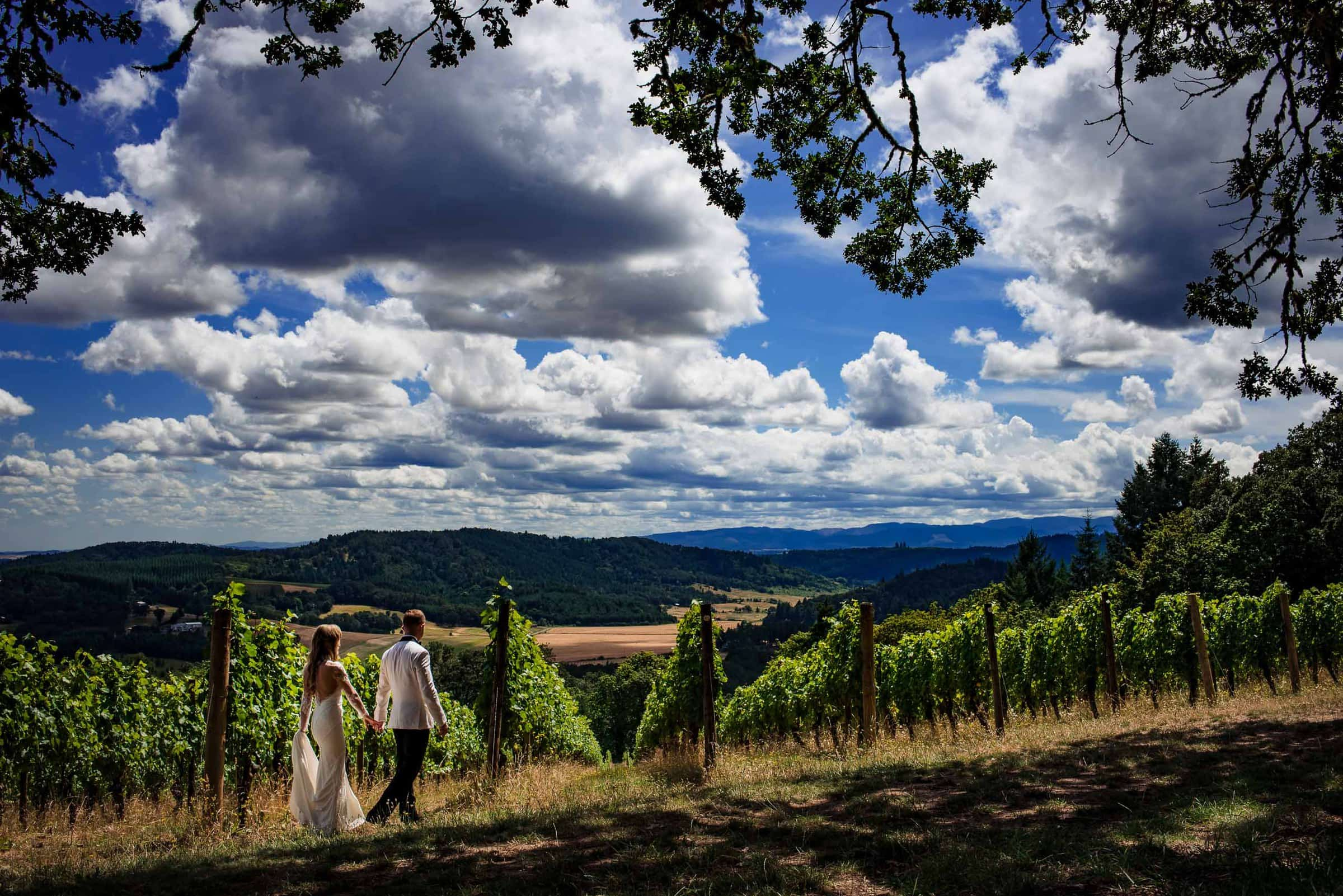Bride and groom walking into vineyards before their Youngberg Hill Wedding