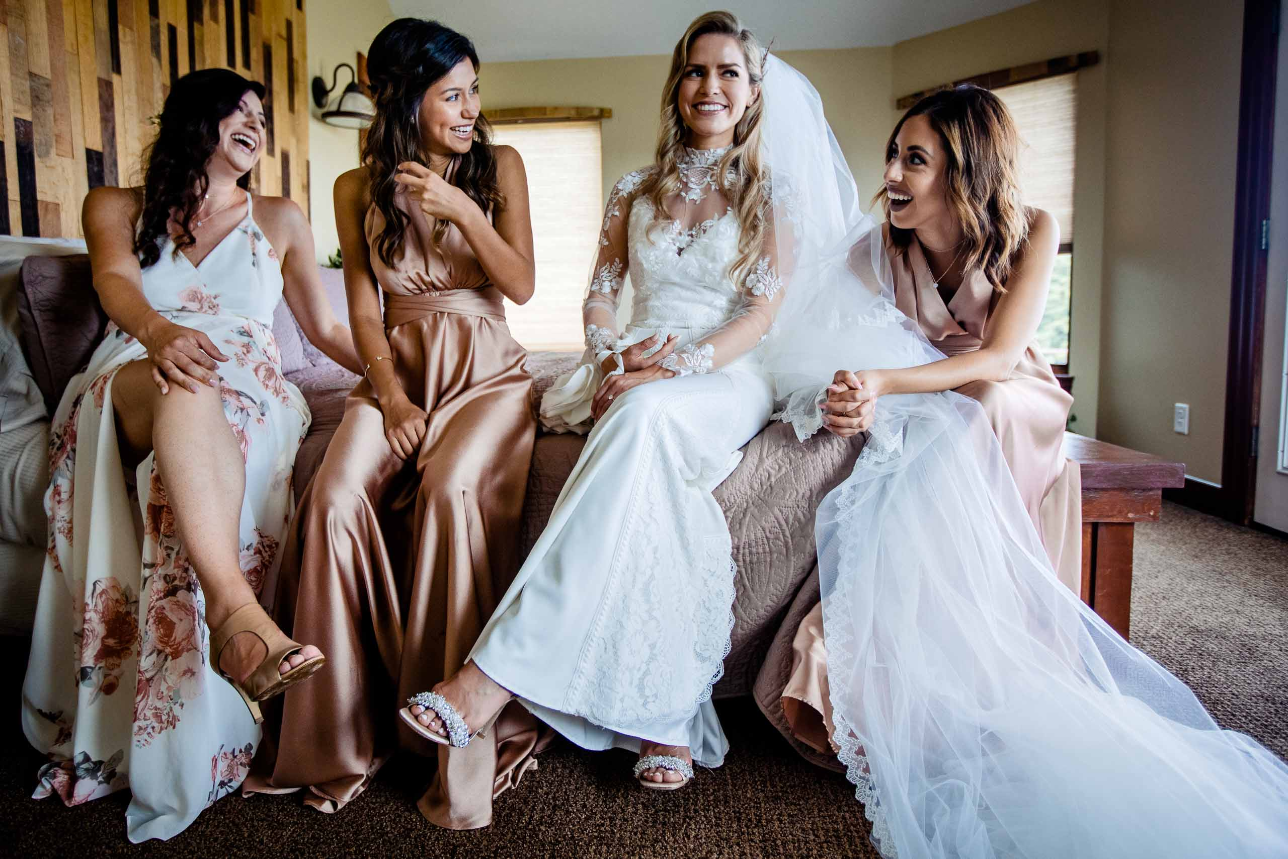 Beautiful bridesmaids with bride before the brides Youngberg Hill Wedding ceremony