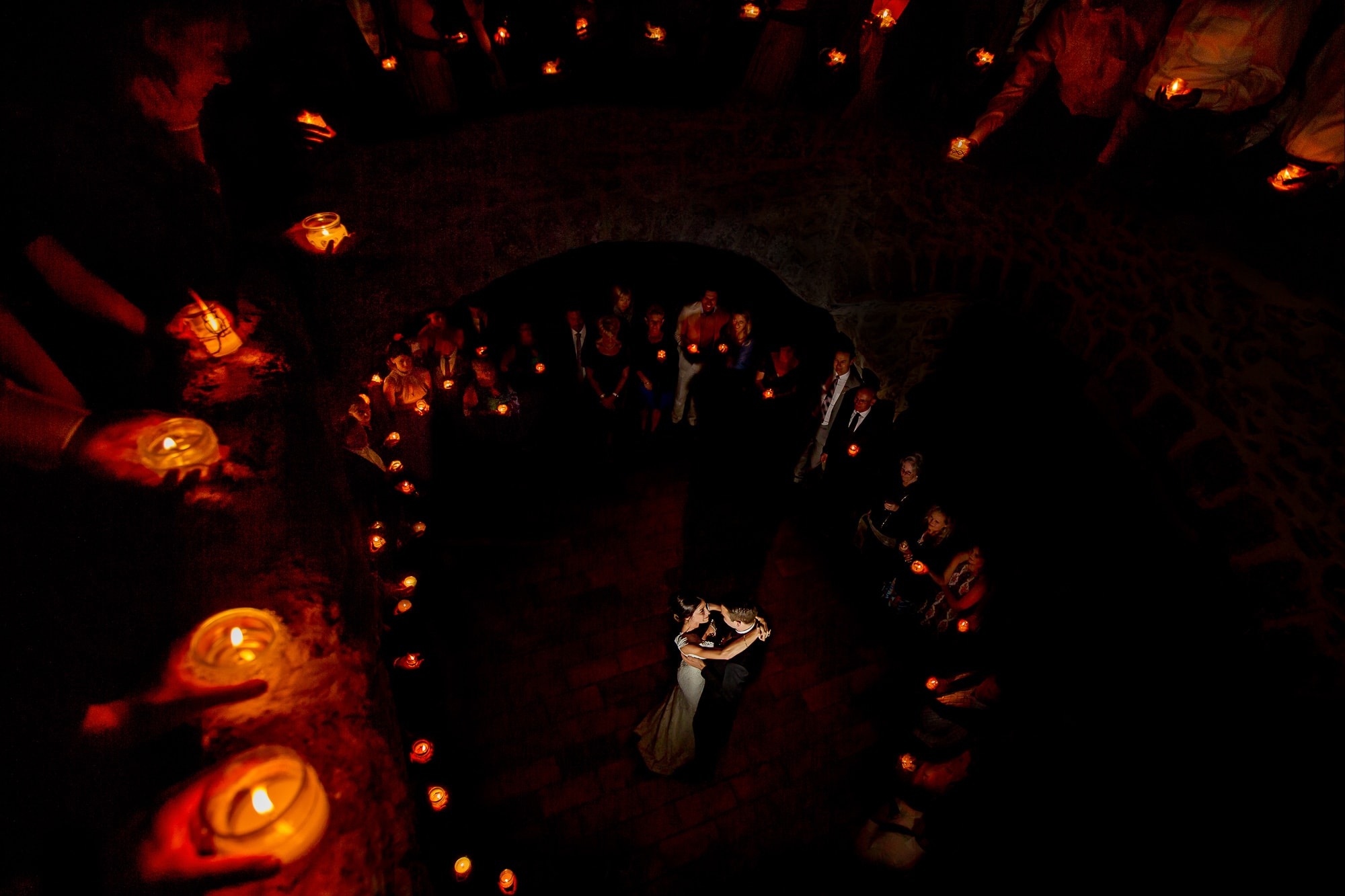 Bride and Groom first dance surrounded by candles in French Chateau award winning photo